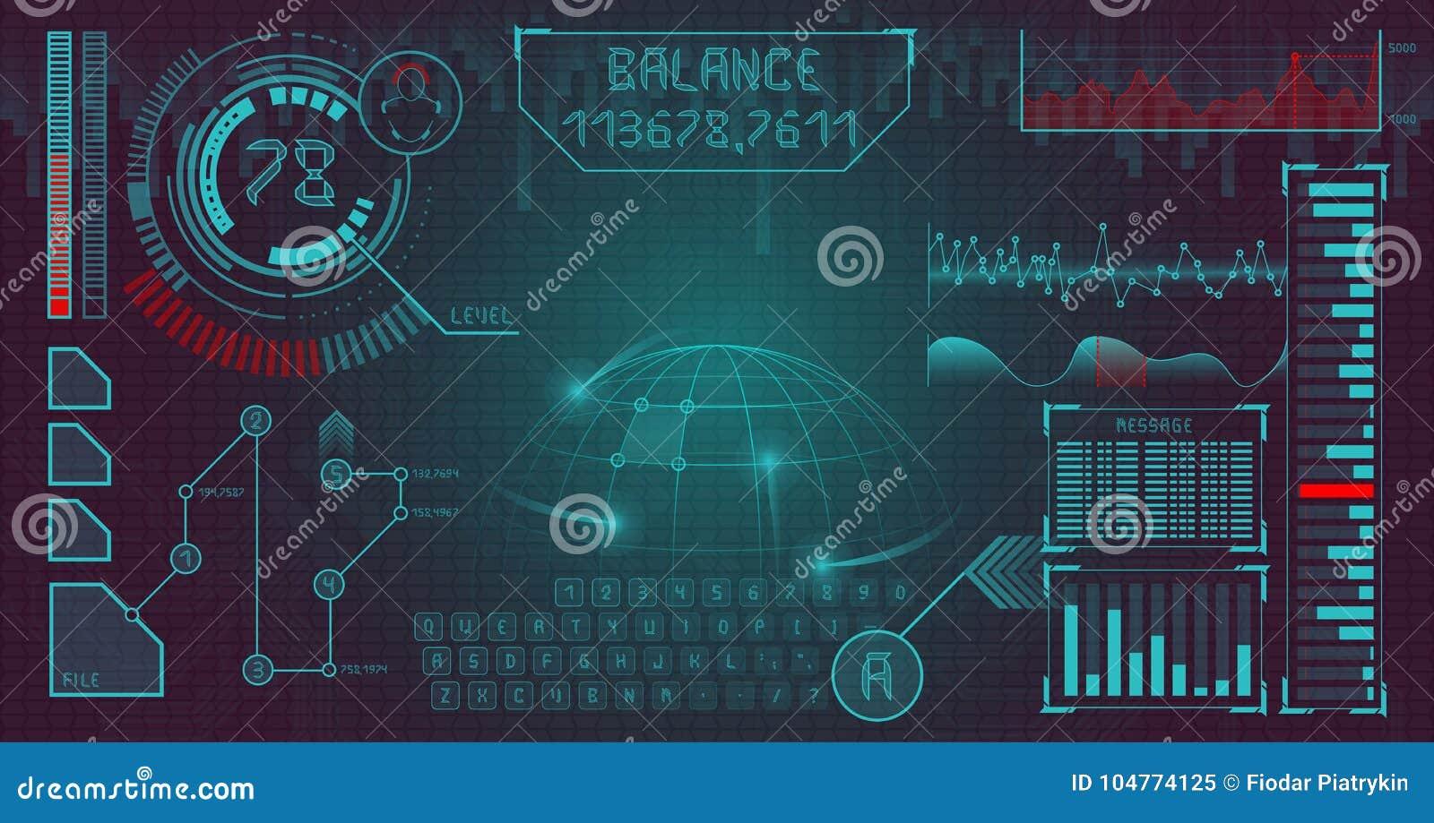 Футуристический пользовательский интерфейс с элементами infographics и уникально шрифтом дисплей космоса Предпосылка вектора