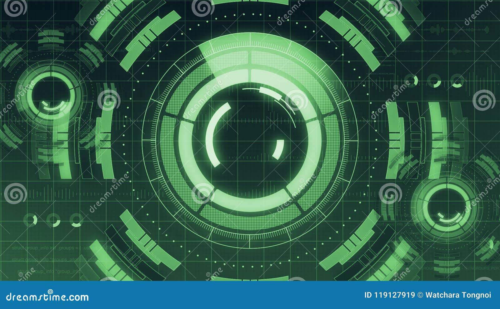 Футуристический цифровой пользовательский интерфейс технологии HUD, экран радара с различным деловым сообществом элементов технол