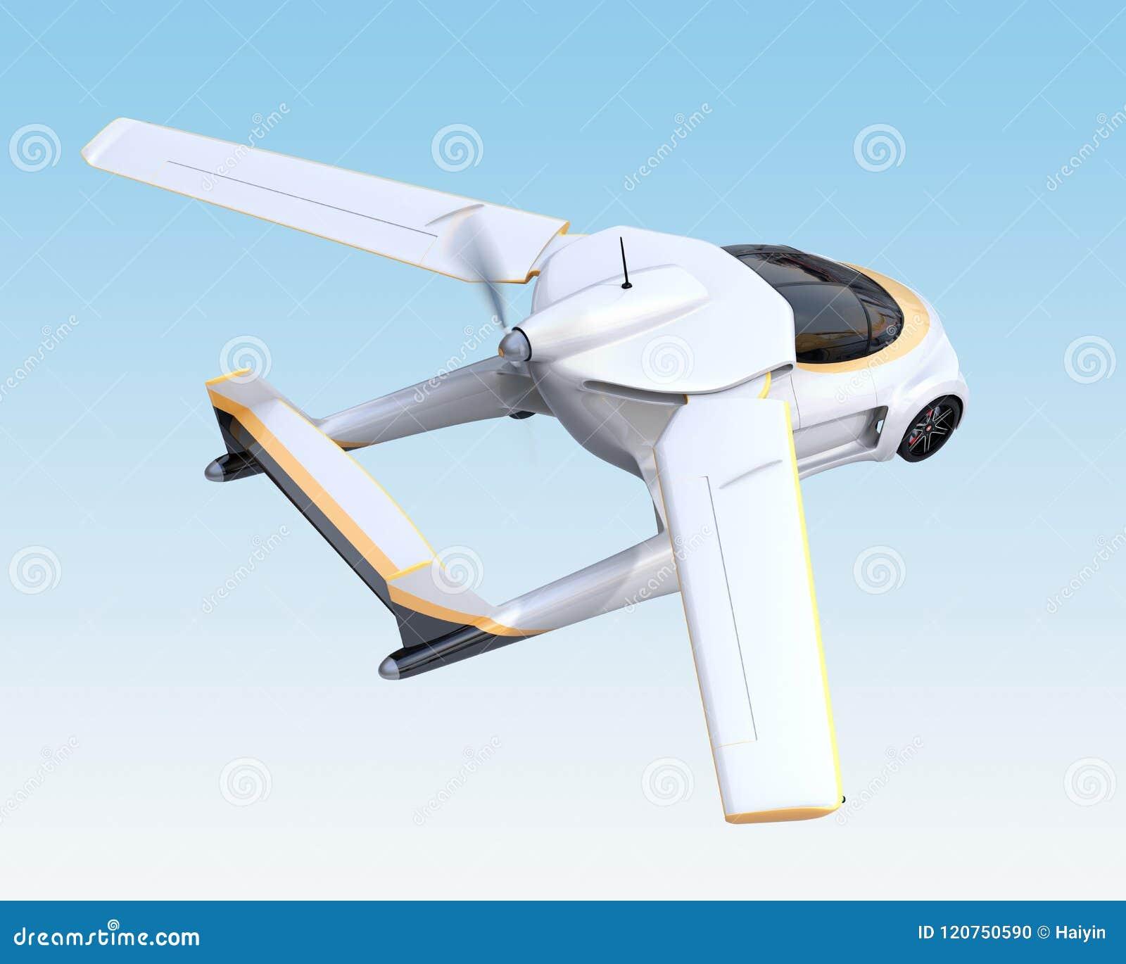 Футуристическое автономное летание автомобиля в небе