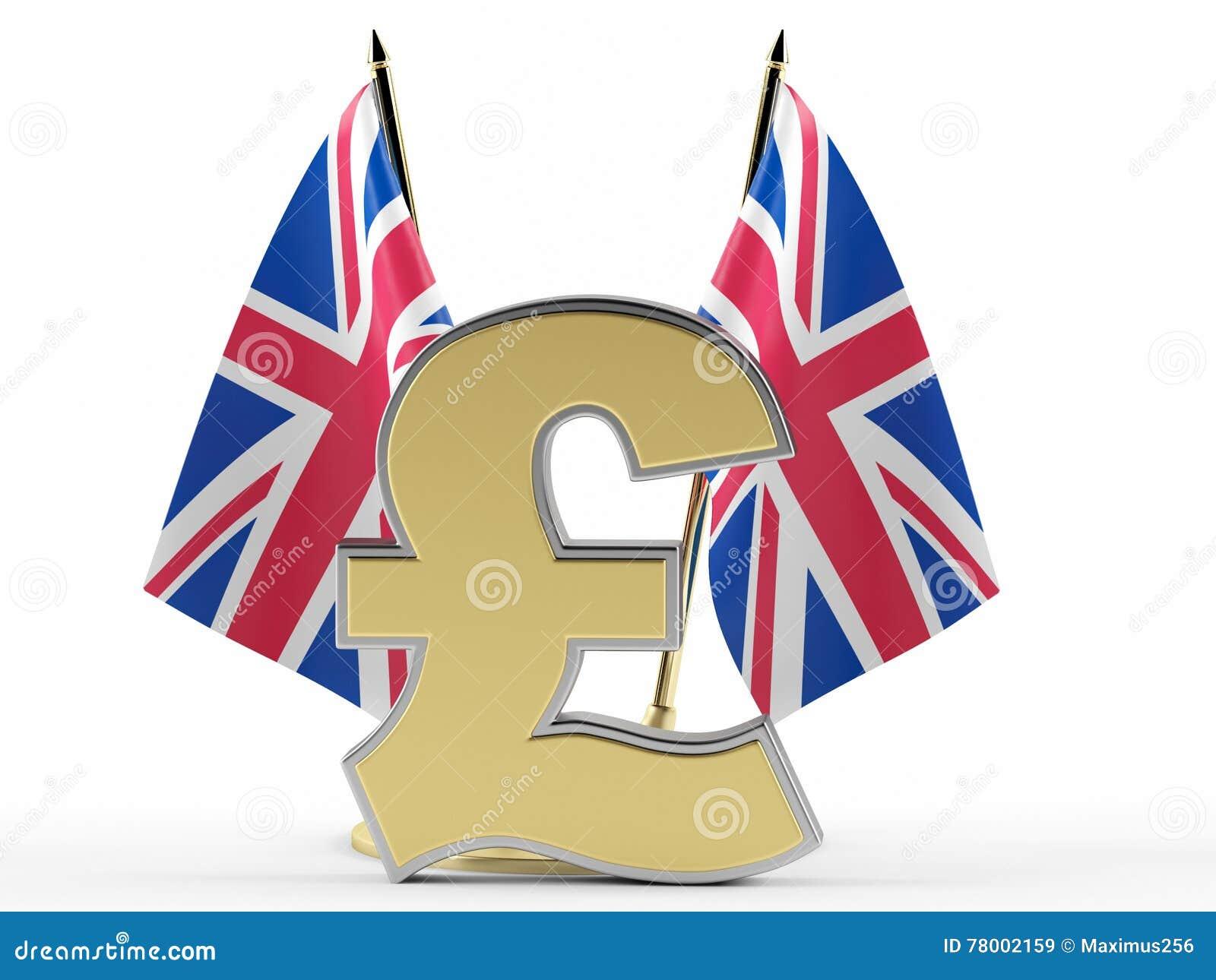 Флаг Великобритании и знает фунт