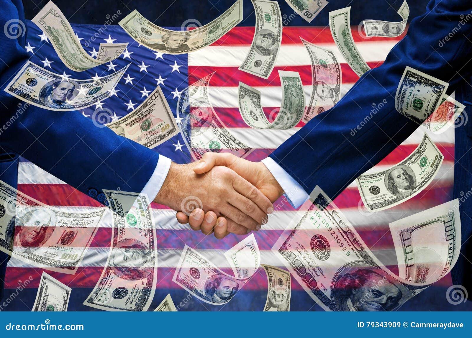 Флаг рукопожатия денег американский
