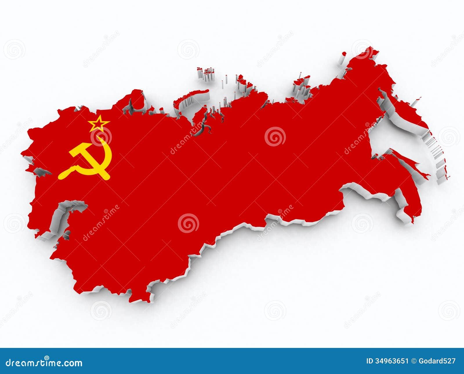 Флаг Советского Союза на карте 3d