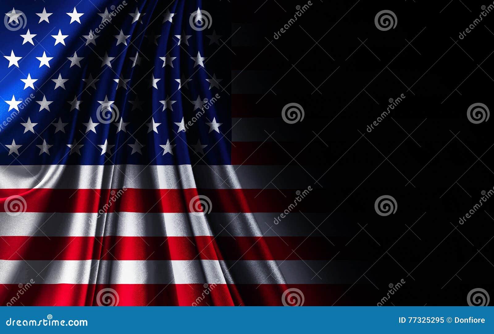 Флаг США американца текстуры ткани, на черной noir предпосылке