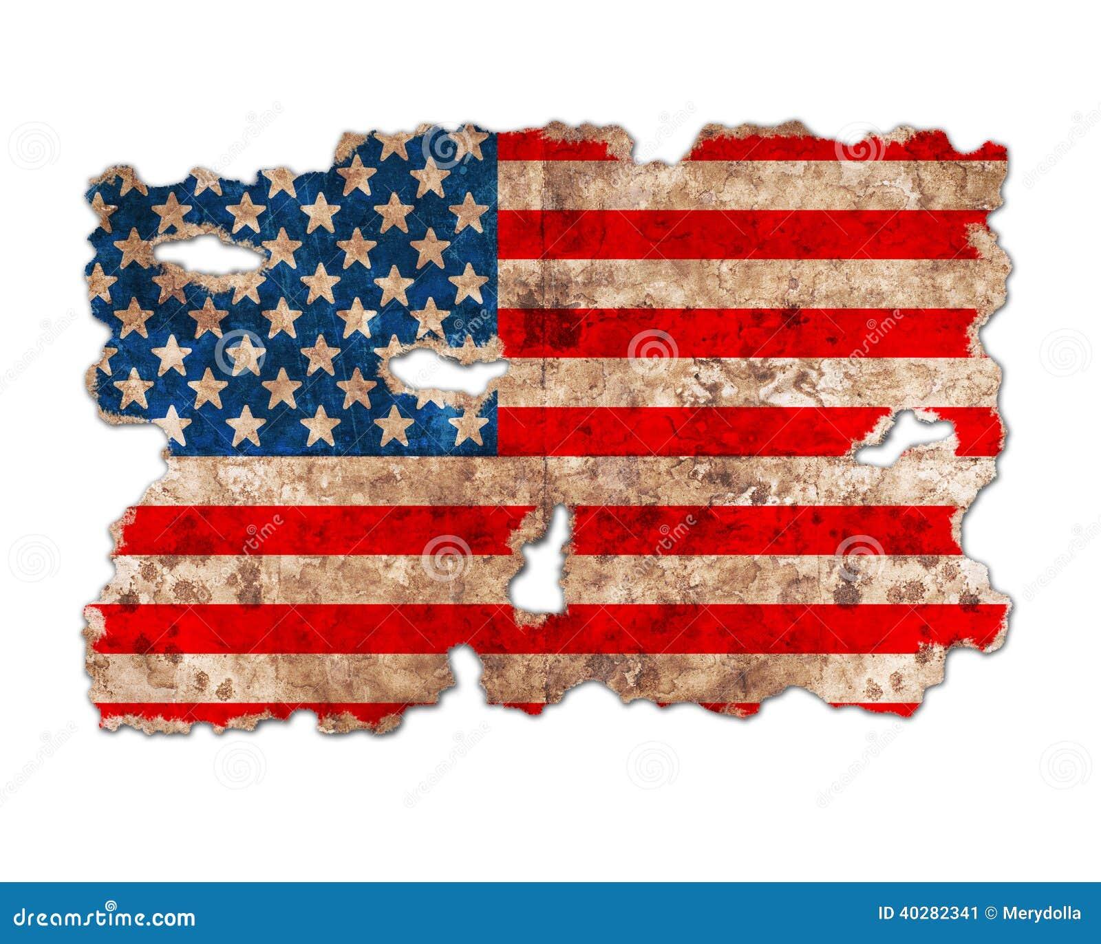 Флаг США в форме сорванной винтажной бумаги