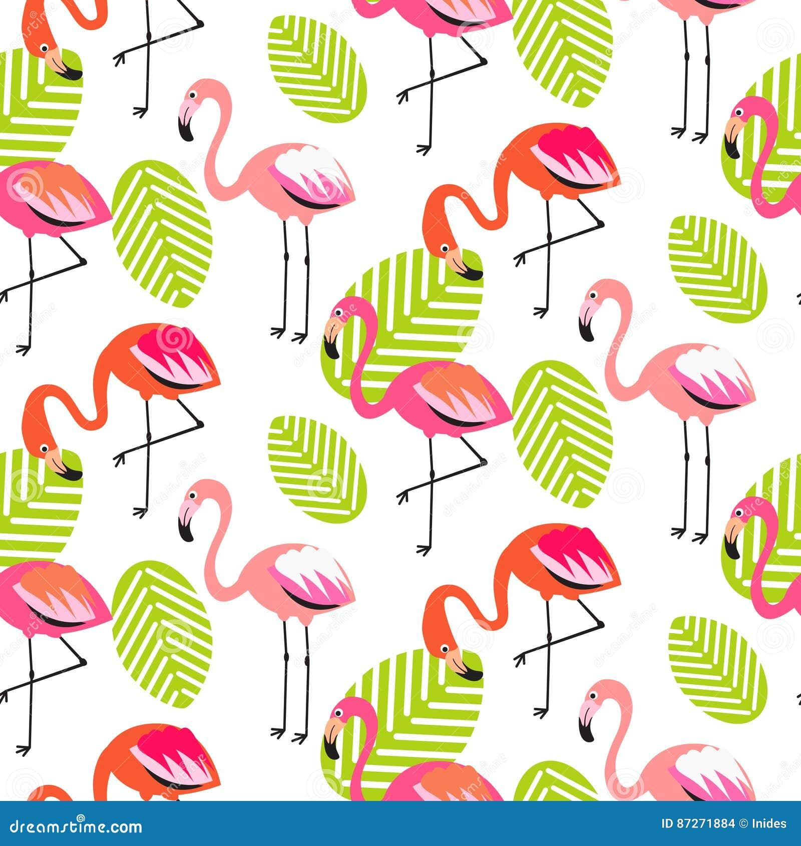 Фламинго лета и картина листьев безшовная