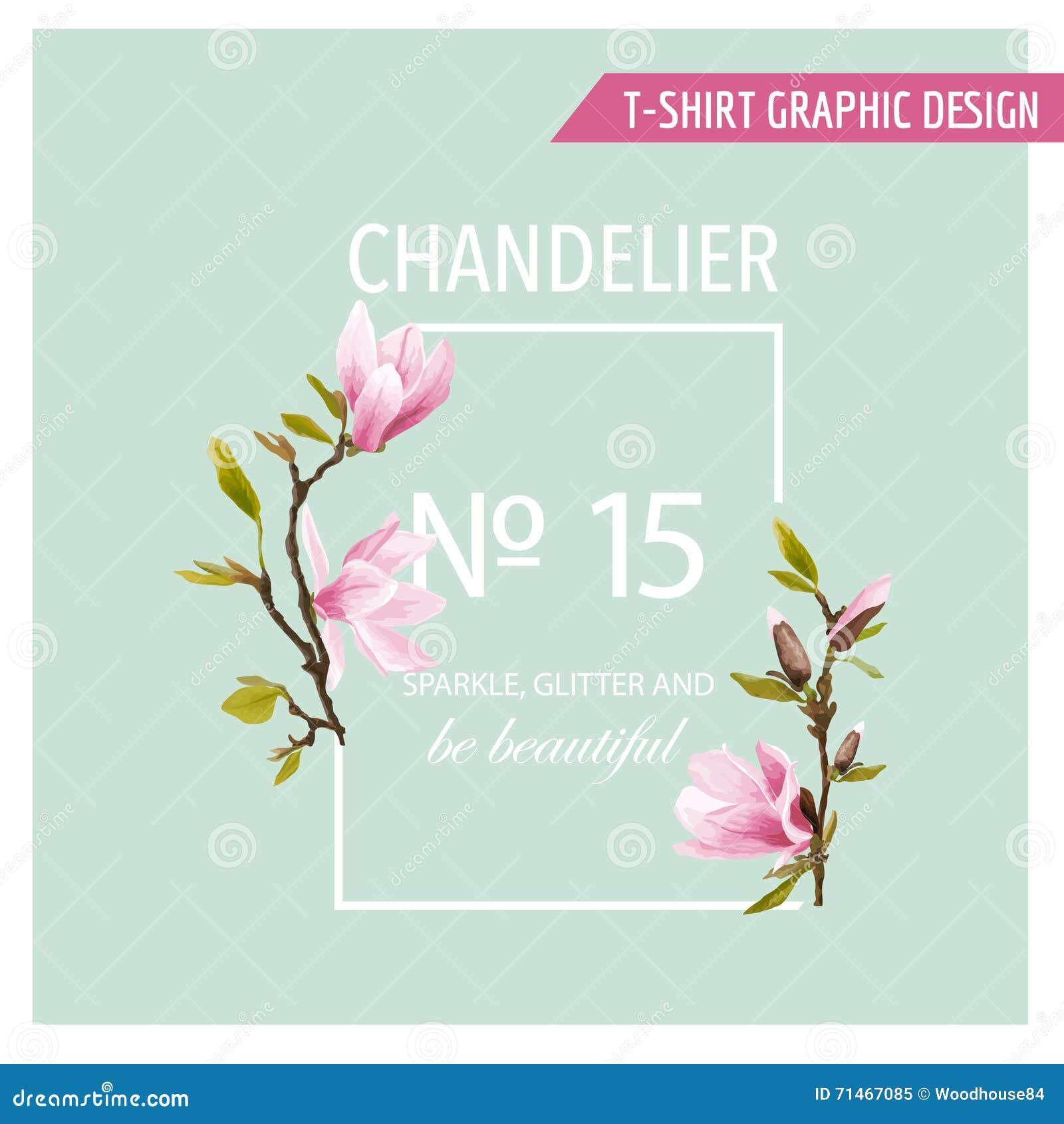 Флористический графический дизайн весны - с цветками магнолии