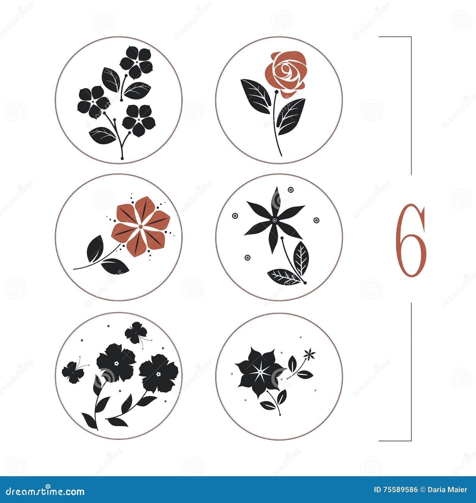 Флористический комплект с силуэтами цветков, листьев и бабочек