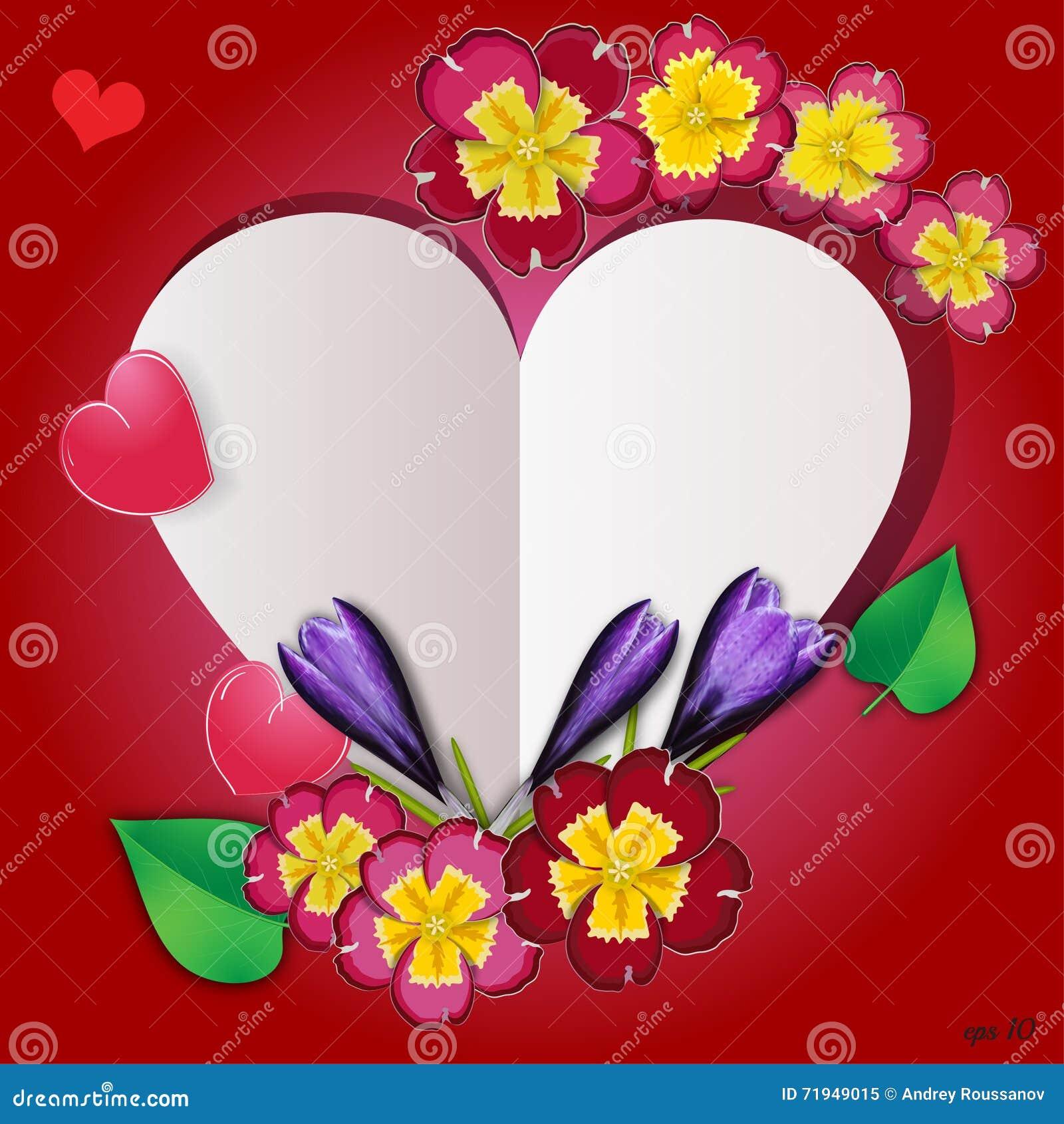 Флористическое сердце с цветками, травами и листьями