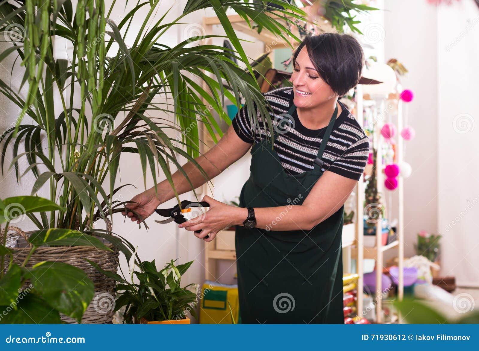 Флорист работая в флористическом магазине