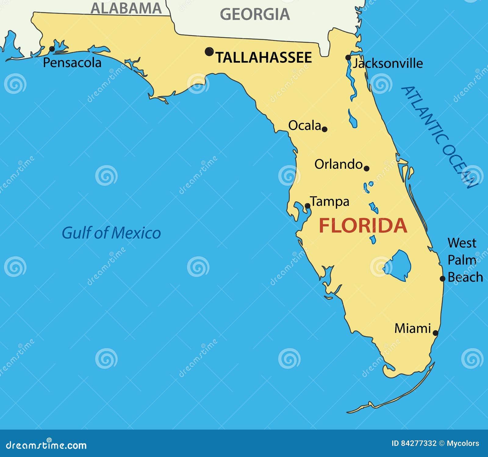 Florida Karta Polozheniya Illyustraciya Vektora Illyustracii