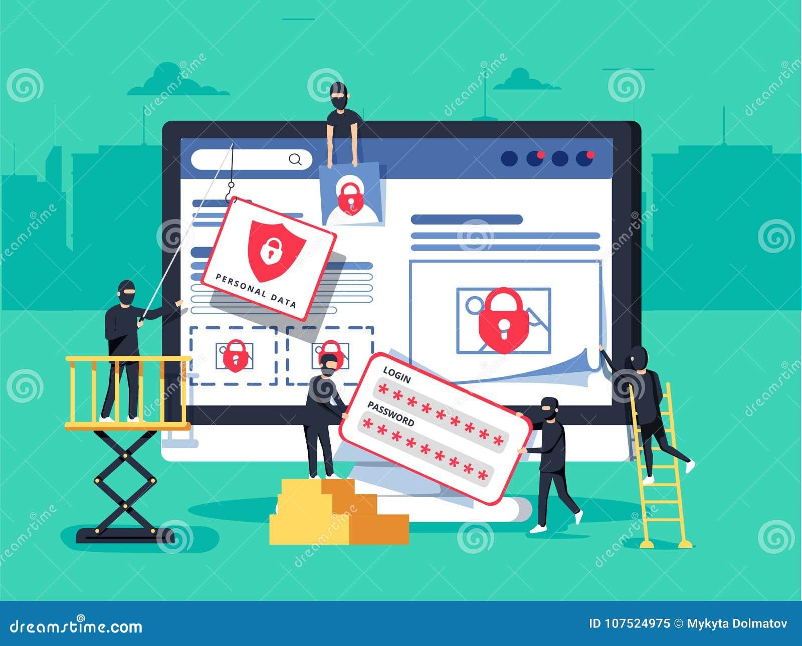 Хакеры разбойничая компьютер люди в черных масках крадя данные и деньги