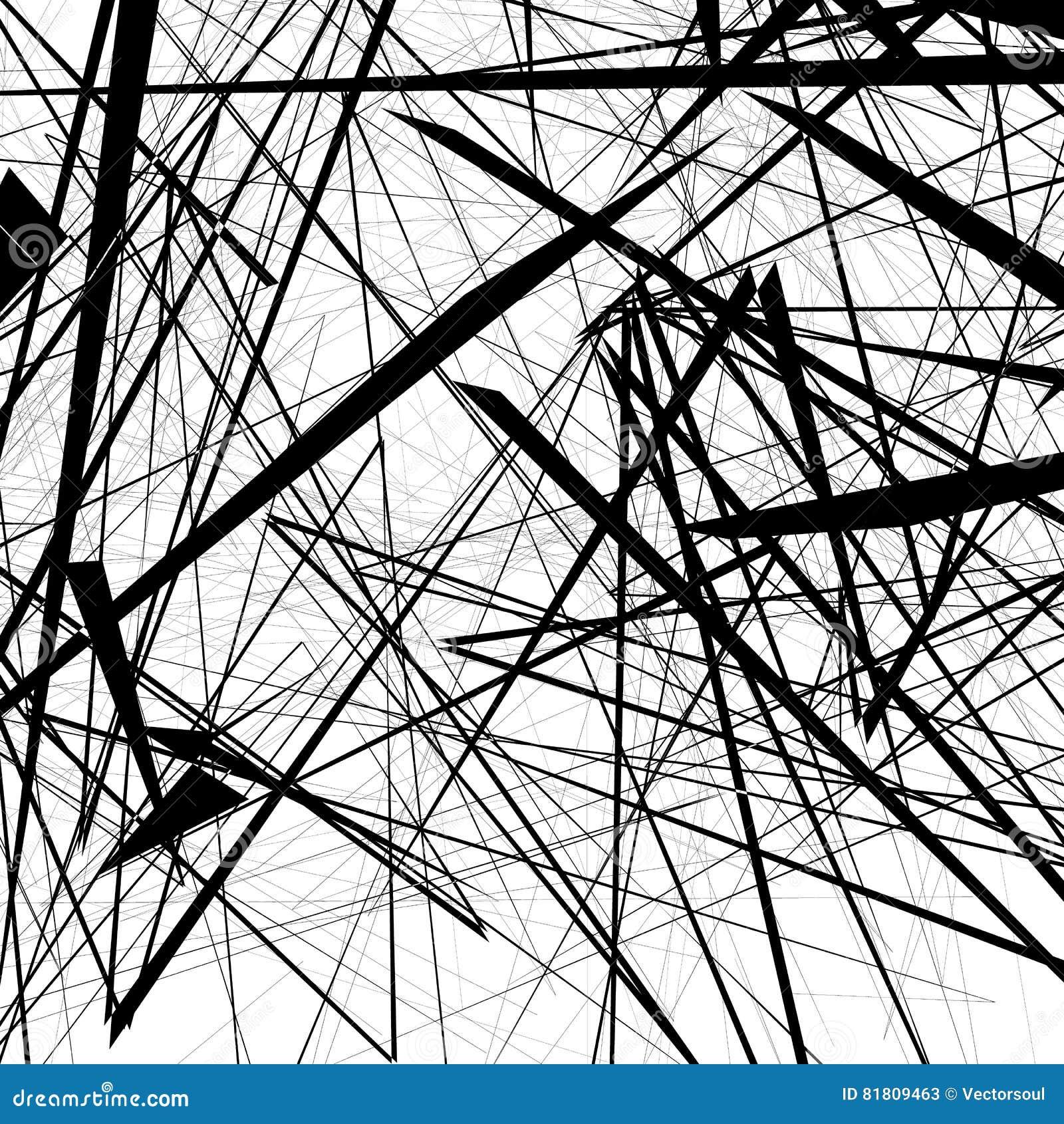 Хаотическая случайная нервная картина Геометрическая абстрактная иллюстрация