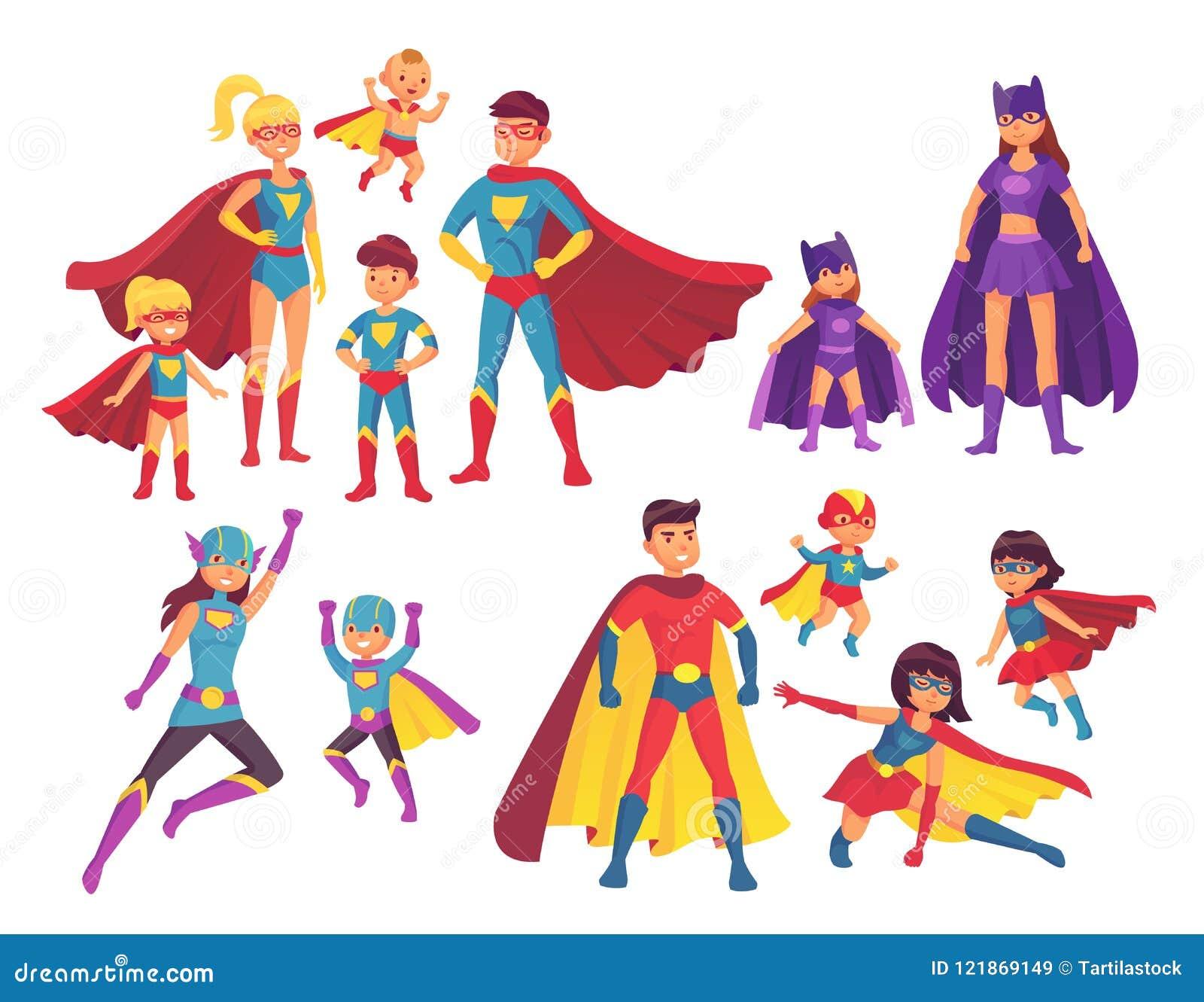 Характеры семьи супергероя Характер супергероев в костюмах с накидкой героя Интересуйте мамой, супер папой и героями детей