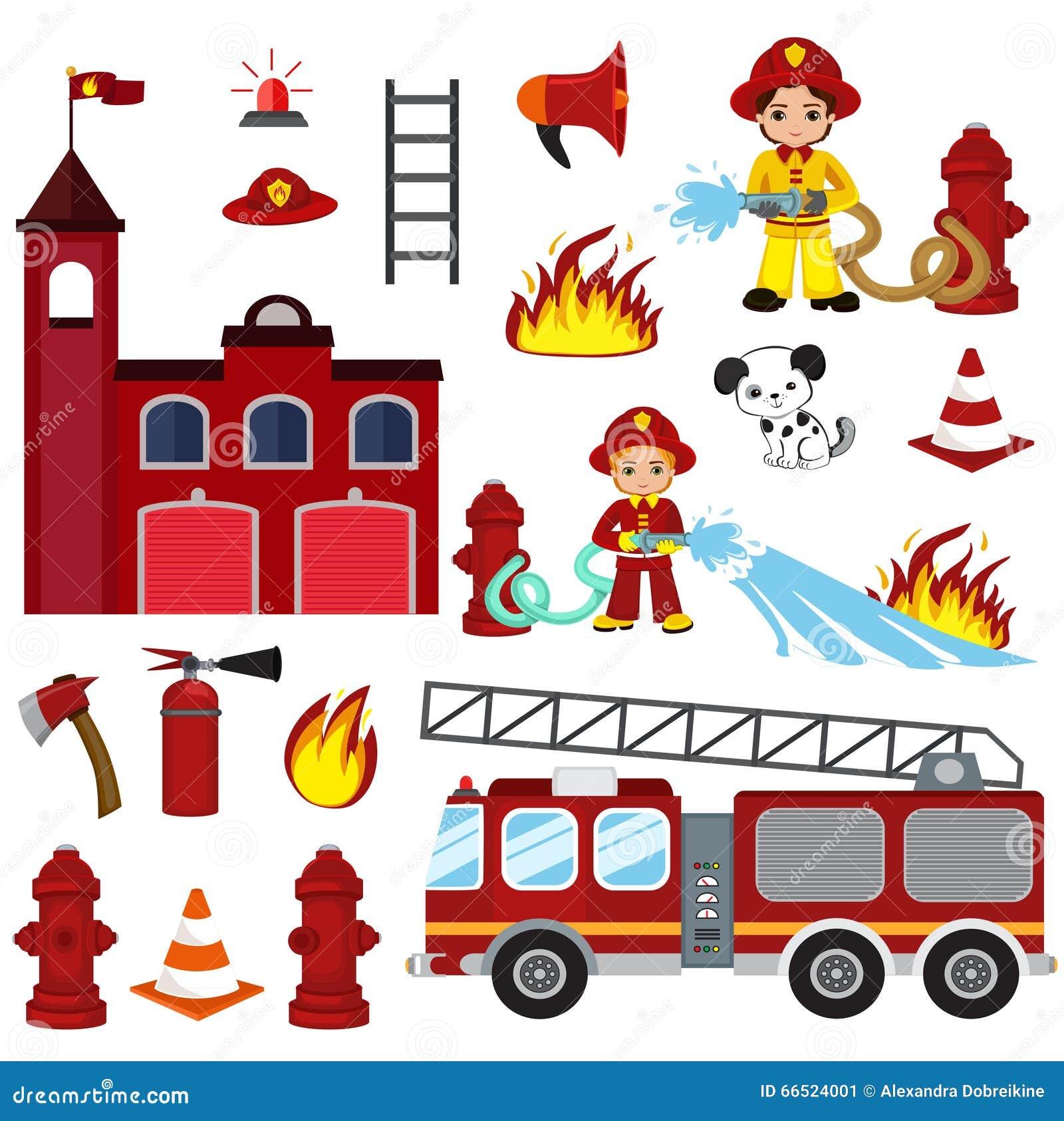 Характеры, шланг, пожарное депо, пожарная машина, пожарная сигнализация, гаситель, ось, и гидрант Firefighting