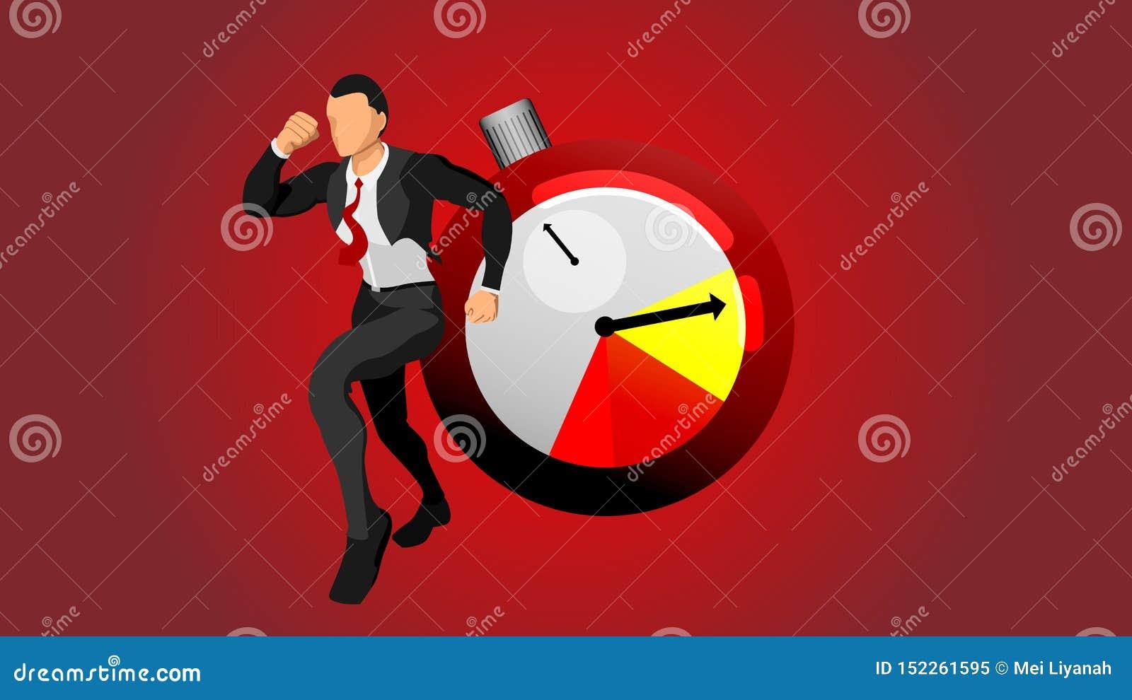 Характер идущего бизнесмена спешен на время