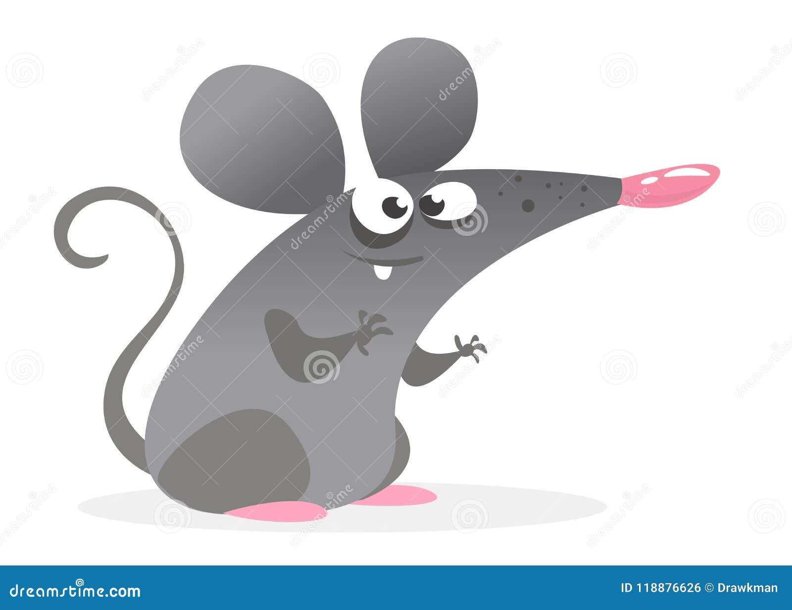 Характер мыши смешного шаржа серый Изолированная иллюстрация вектора