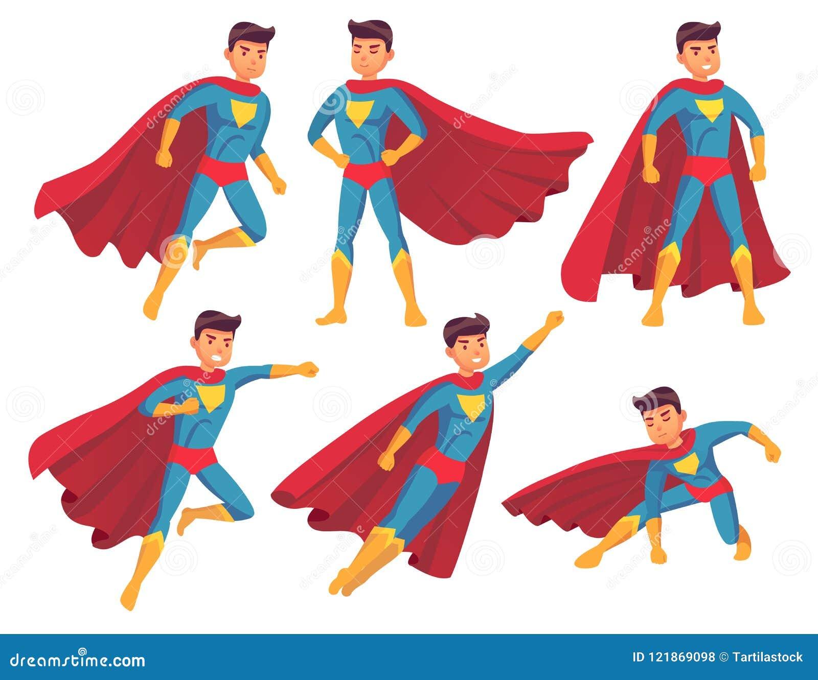 Характер супергероя шаржа Мышечное мужское положение в супер холодном представлении в костюм супергероев с развевая плащем герой