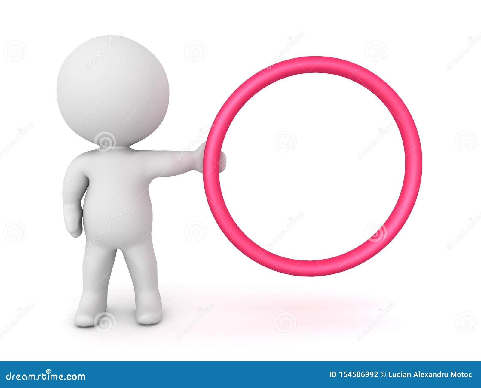 характер 3D держа красный обруч круга к правильной стороне