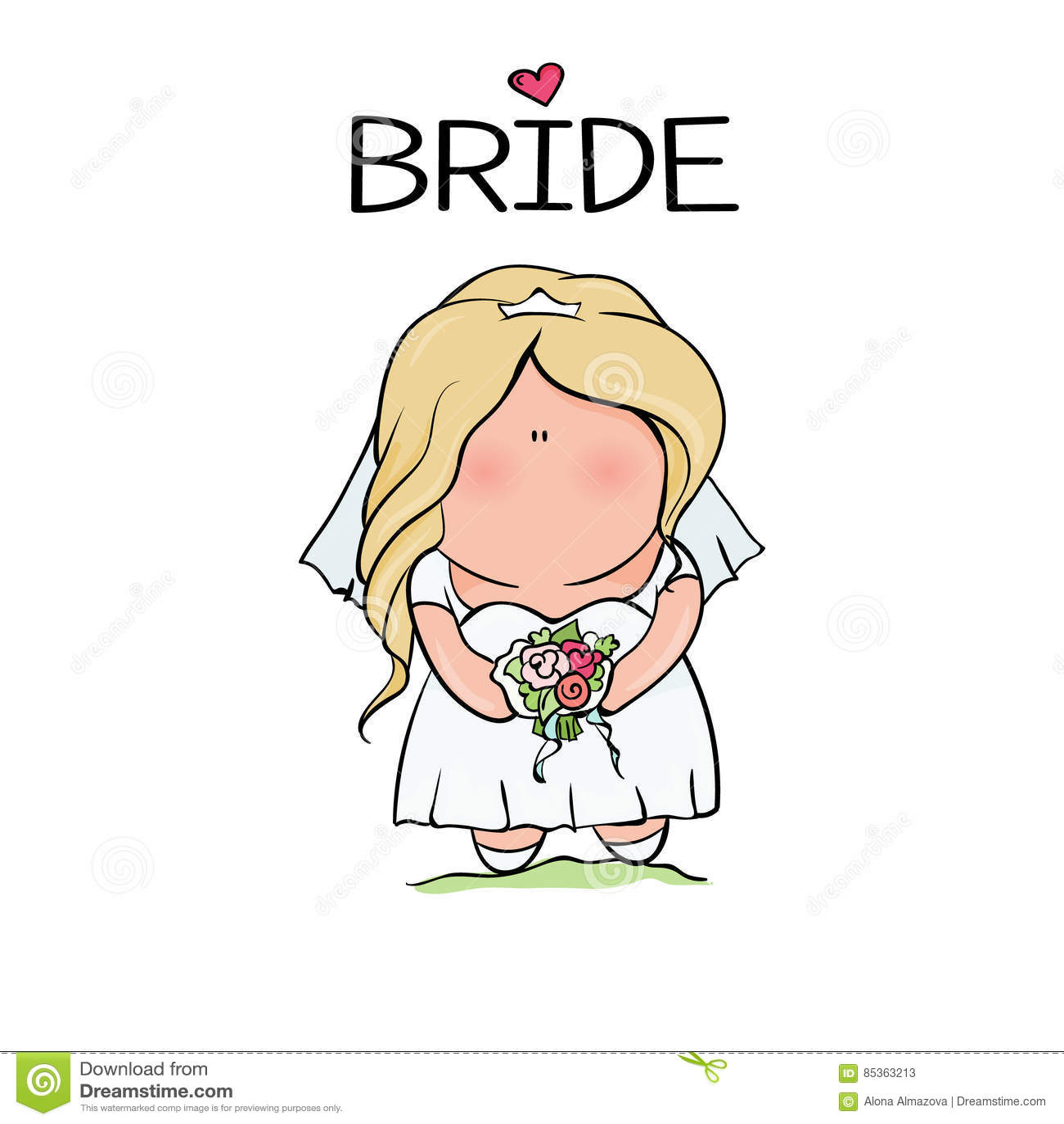 Характер Doodle невеста милая Шаблон для печати