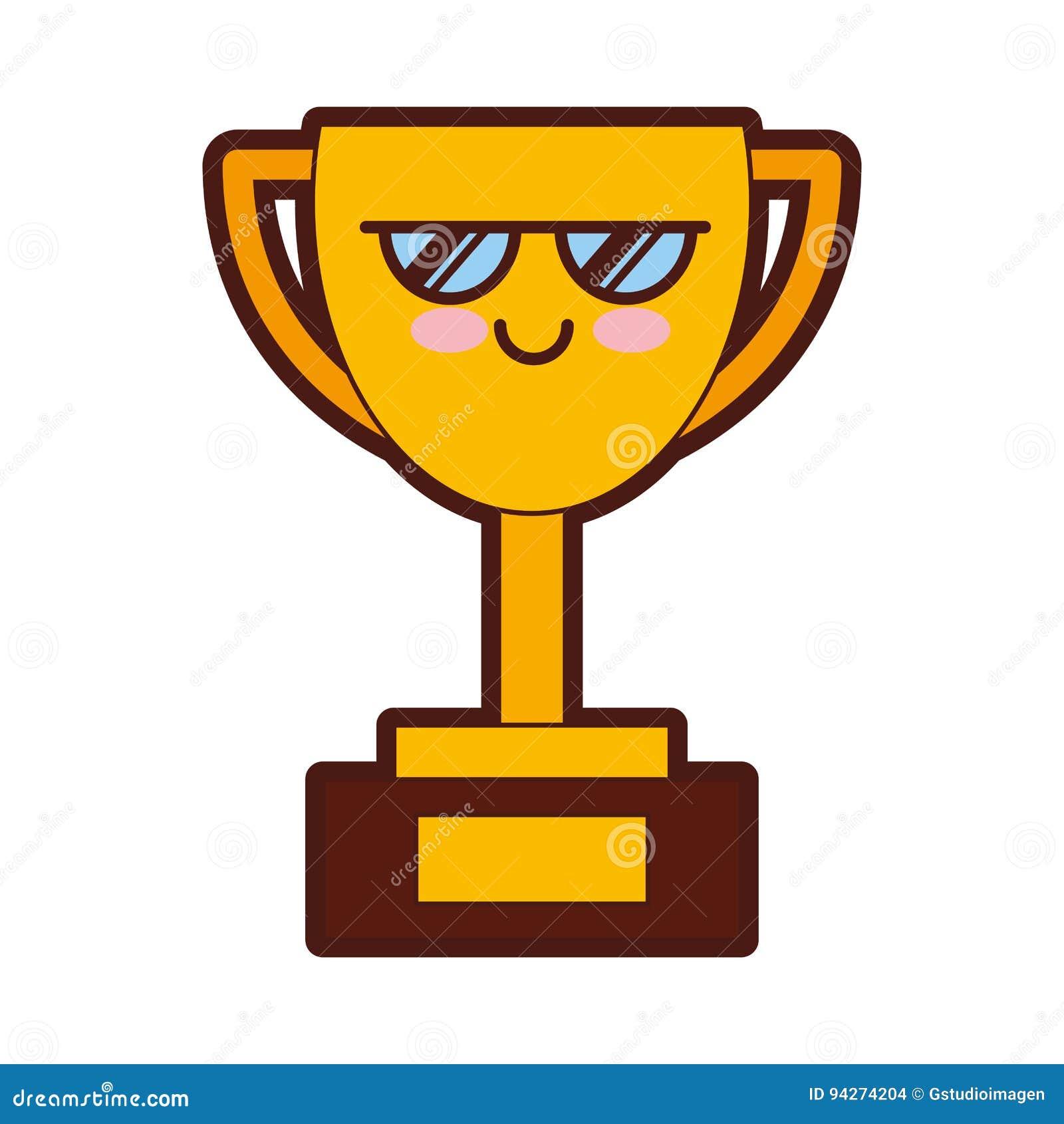 характер Kawaii чашки трофея иллюстрация вектора