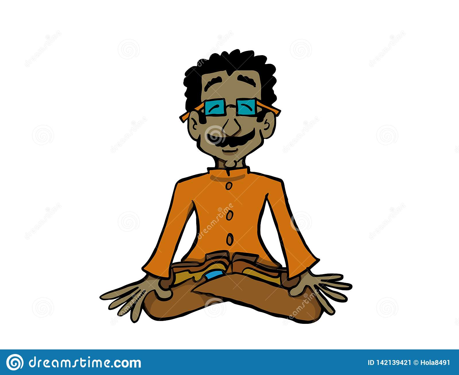 Характер Raj сидя в йоге или раздумье положения лотоса практикуя