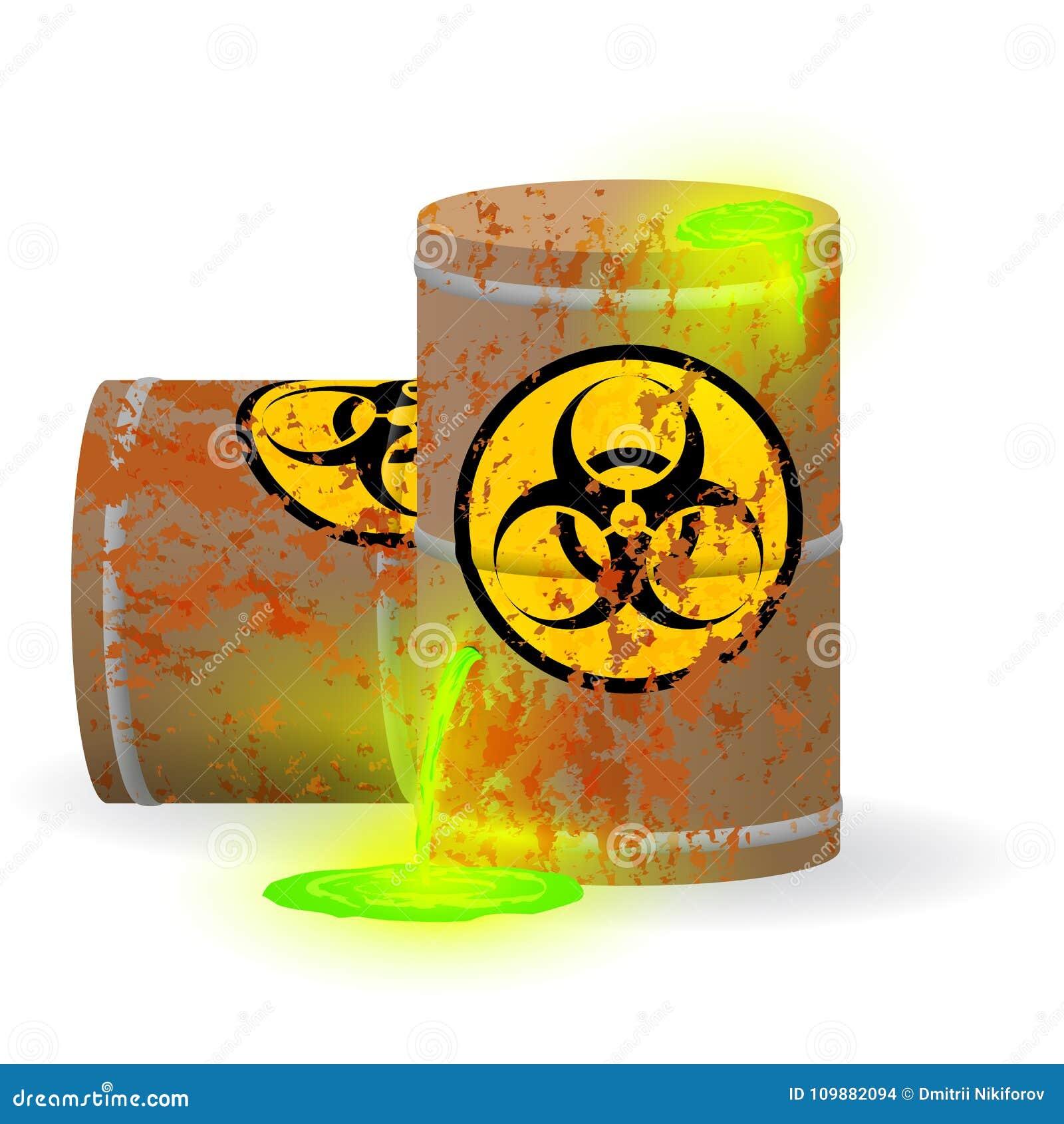 Химический биологический отход в ржавом бочонке Токсическая зеленая дневная жидкость в бочонке Опасность загрязнения окружающей с