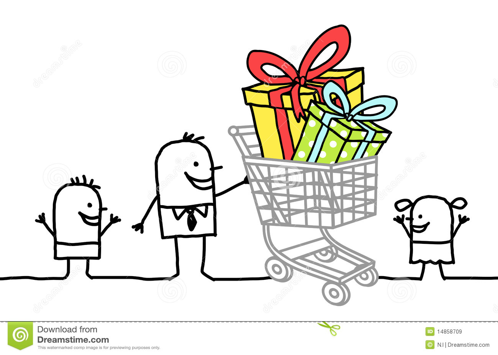 ходить по магазинам подарков тележки