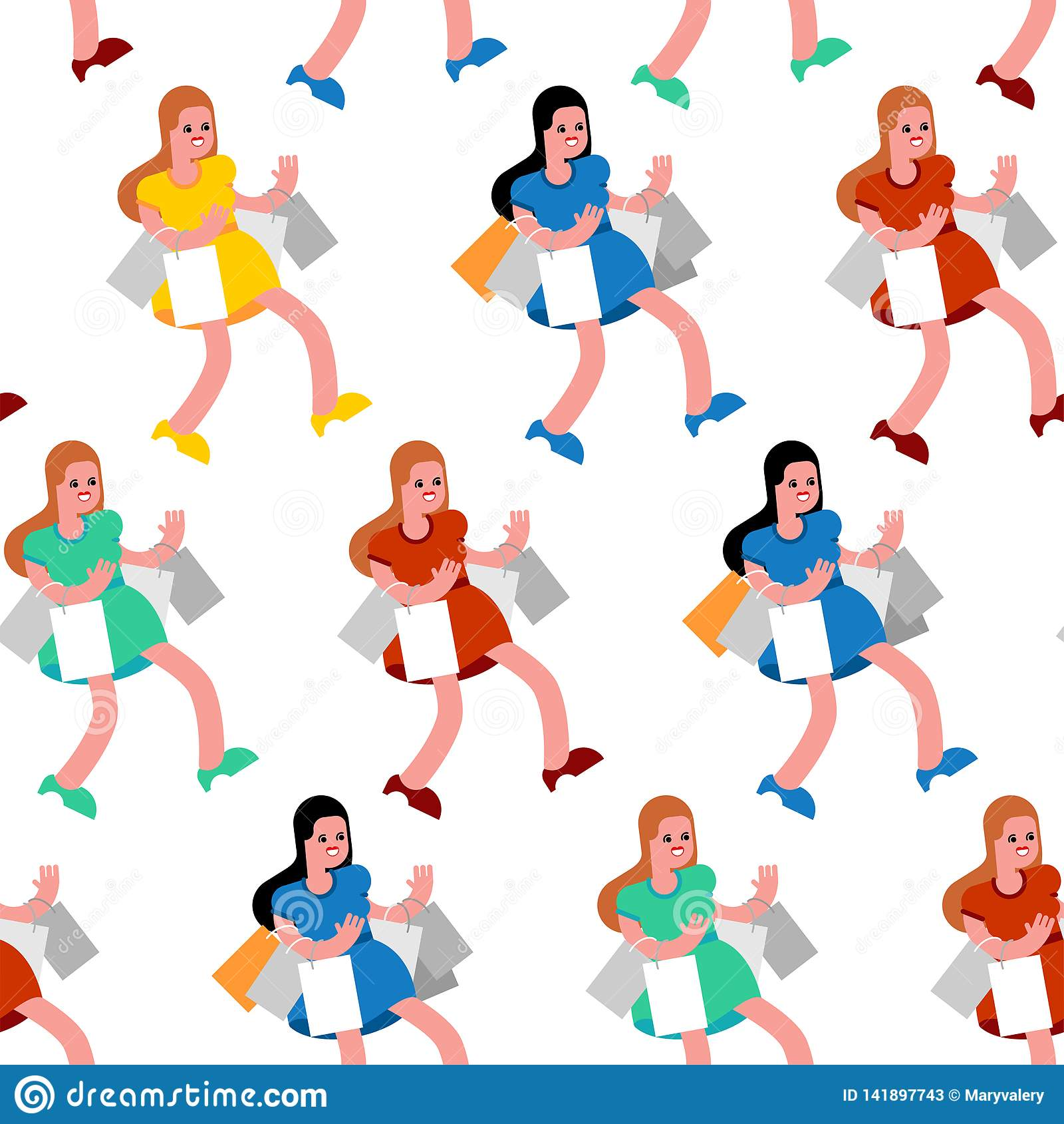 Ходя по магазинам картина безшовная Покупатель и приобретение Женщины в магазине и пакетах Предпосылка покупателя
