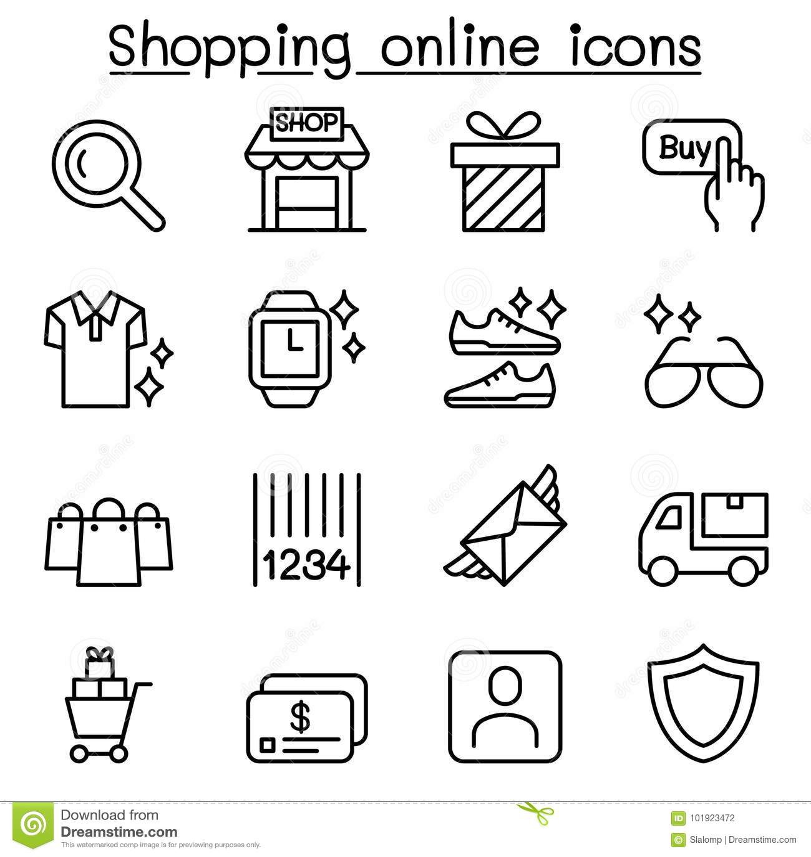 Ходя по магазинам онлайн значок установил в тонкую линию стиль