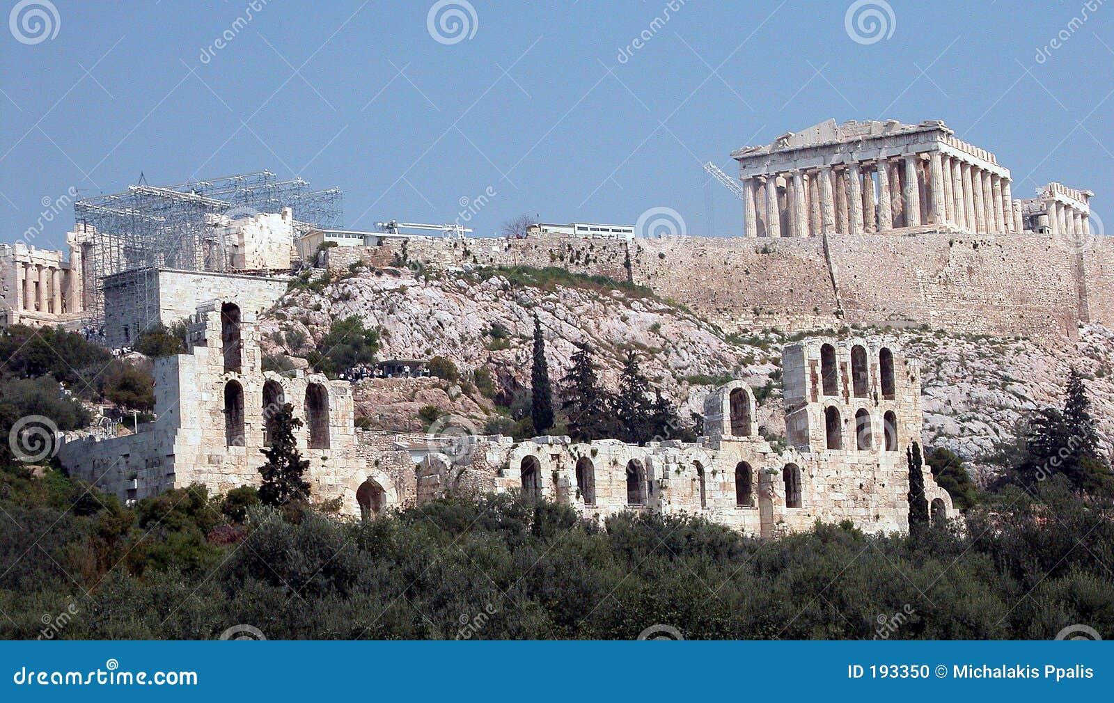 холм athens акрополя