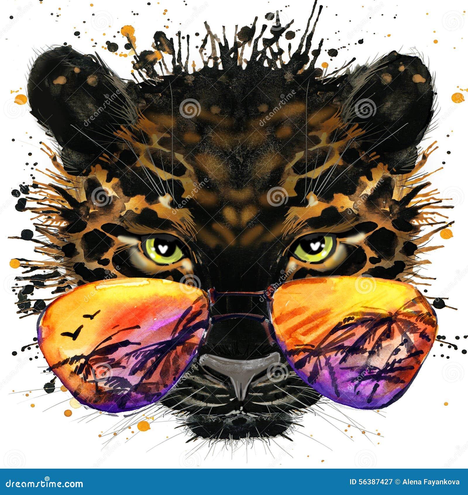 Холодные графики футболки ягуара иллюстрация ягуара с предпосылкой выплеска текстурированной акварелью необыкновенный jag акварел