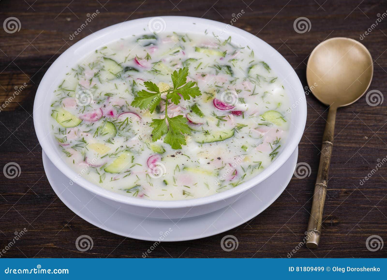Холодный овощной суп на югурте, основании кисл-молока - okroshka