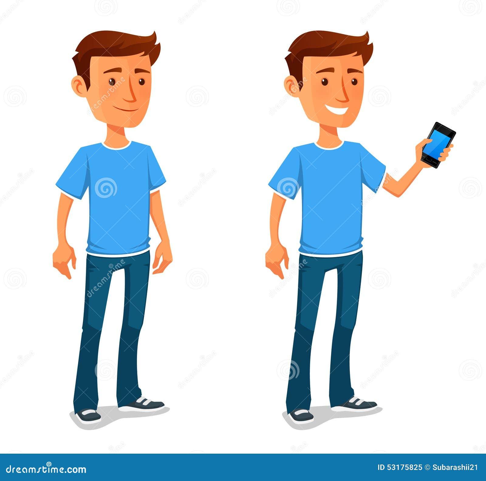 Холодный парень шаржа с сотовым телефоном