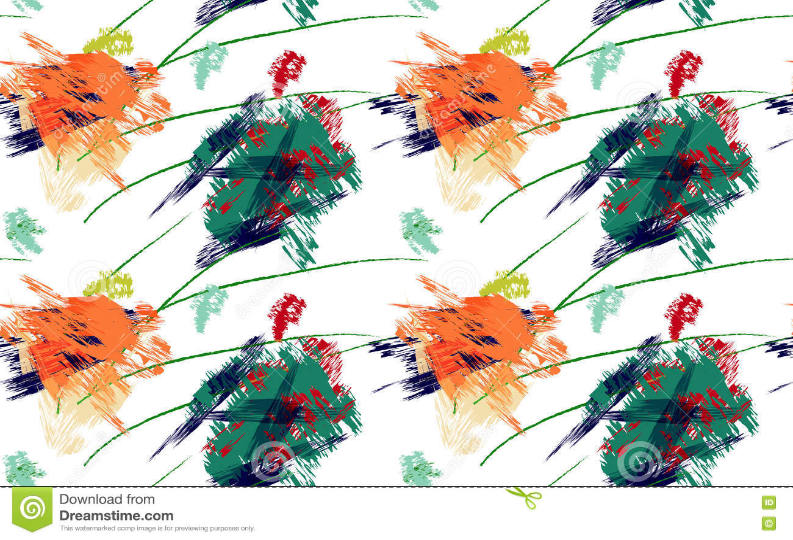 Ходы грубой щетки зеленые и оранжевые краски