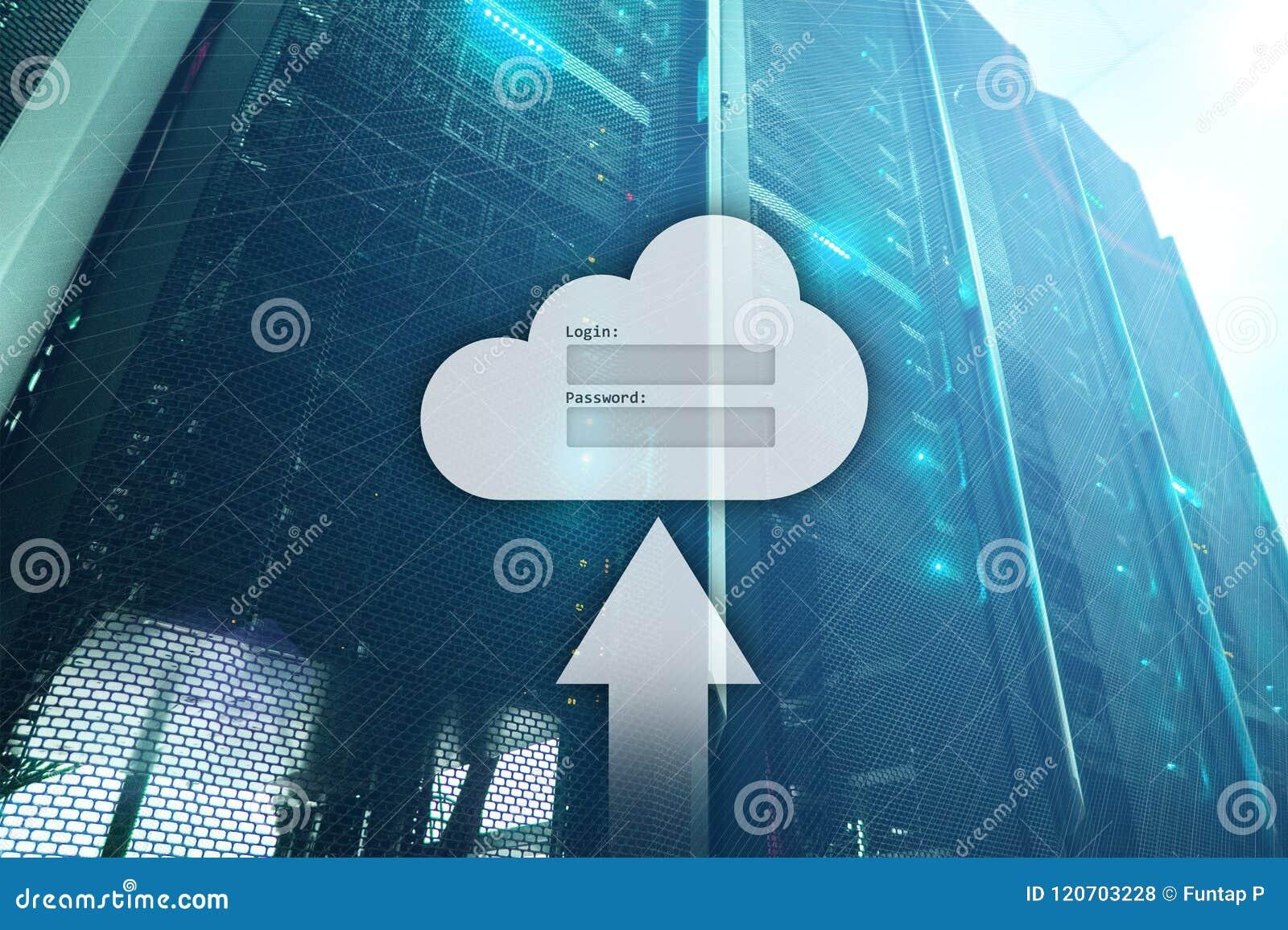Хранение, доступ к данным, имя пользователя и пароль облака спрашивают окно на предпосылке комнаты сервера Интернет и концепция т