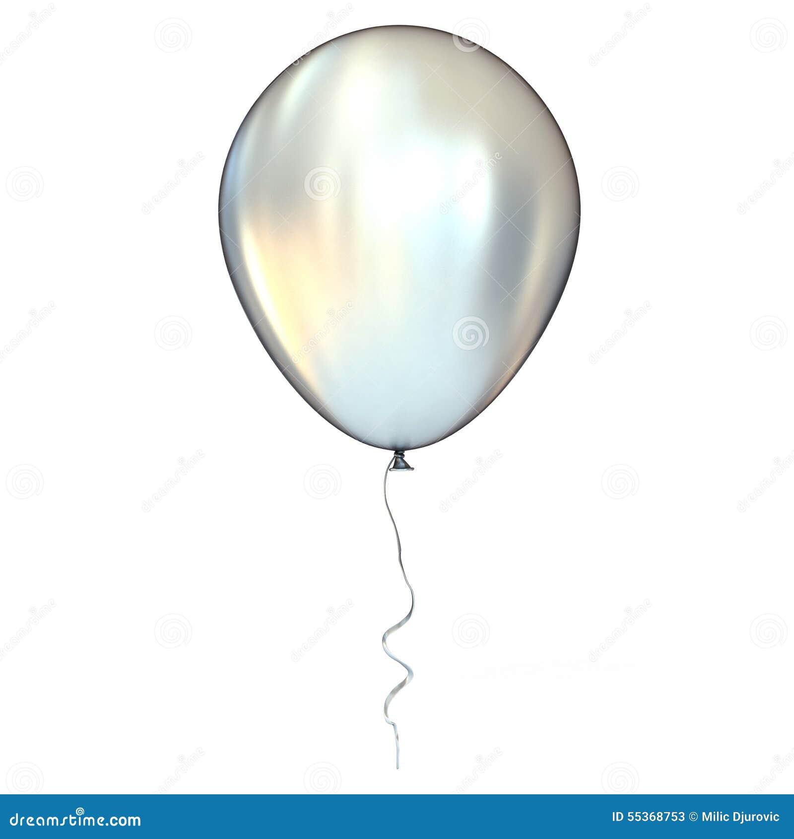 Хром, серебр, металлический воздушный шар с лентой