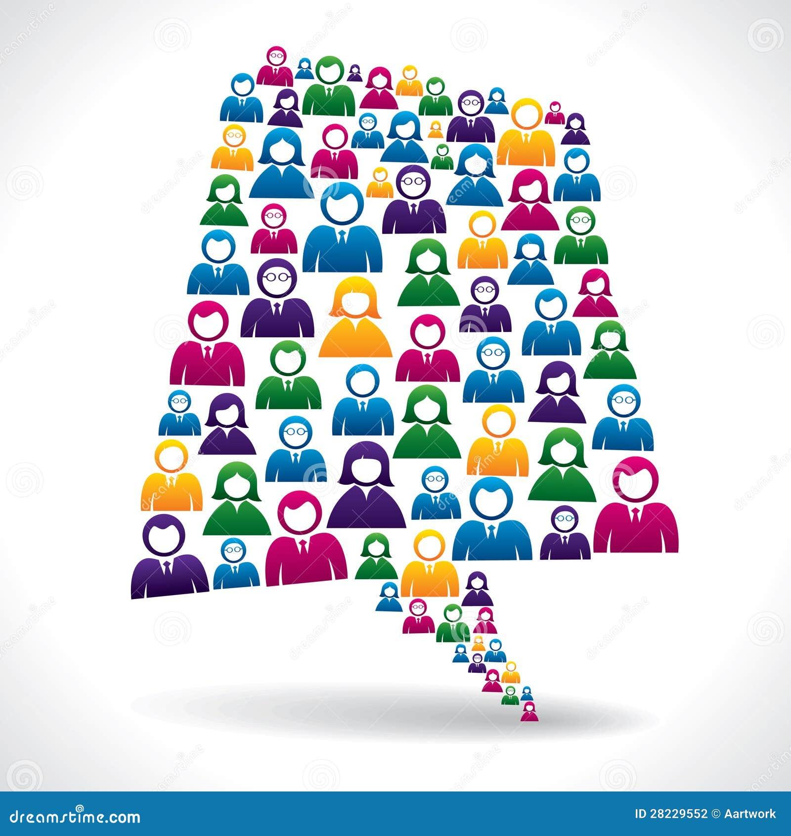 Цветастые бизнесмены принципиальной схемы связи