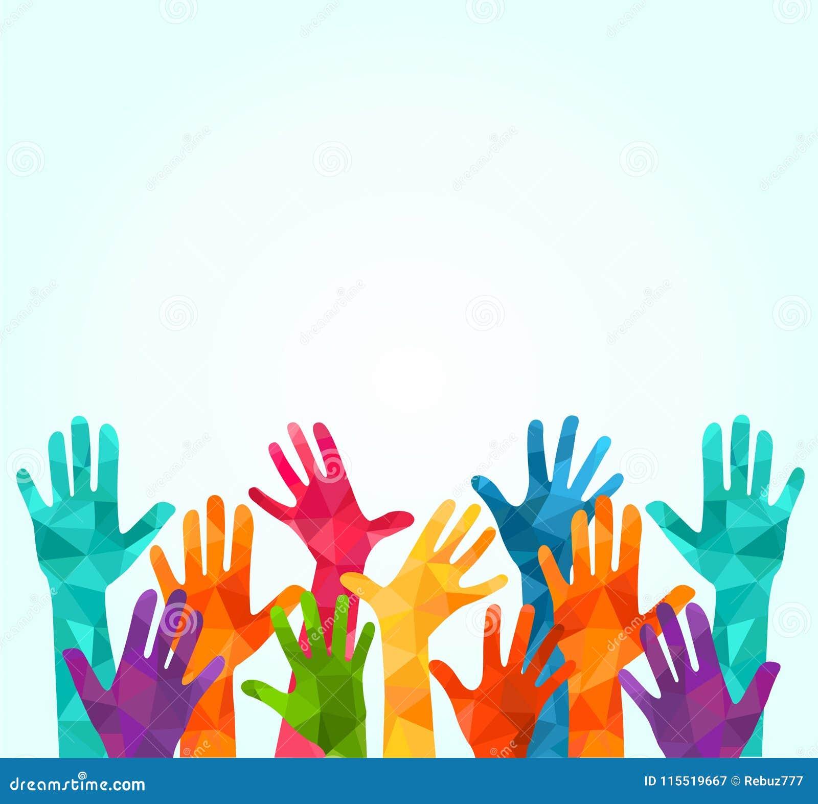 цветастые руки вверх Vector иллюстрация, celation associers, единство, партнеры, компания, приятельство, предпосылка Volunteebr д