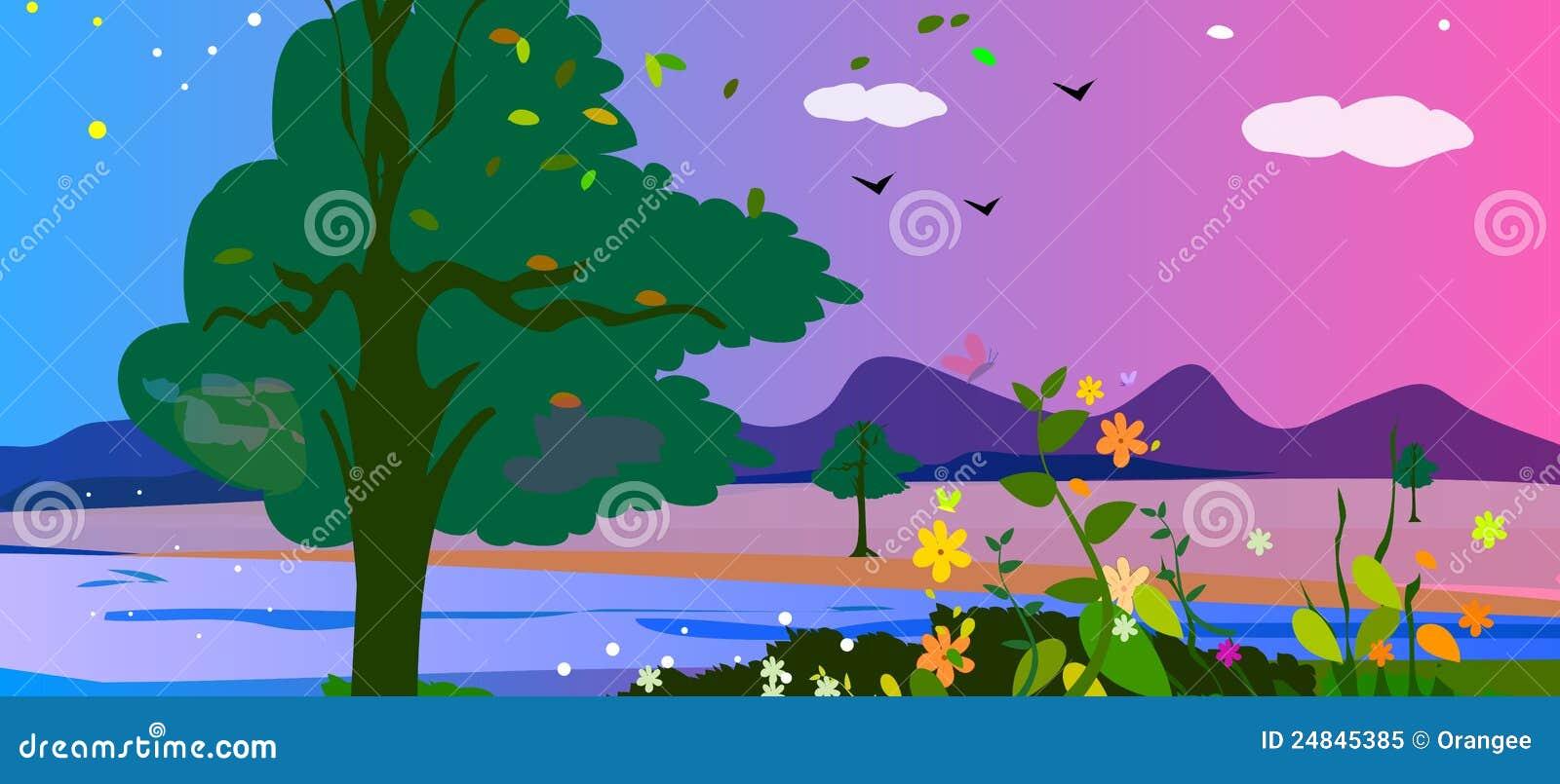 цветастый ландшафт сельской местности