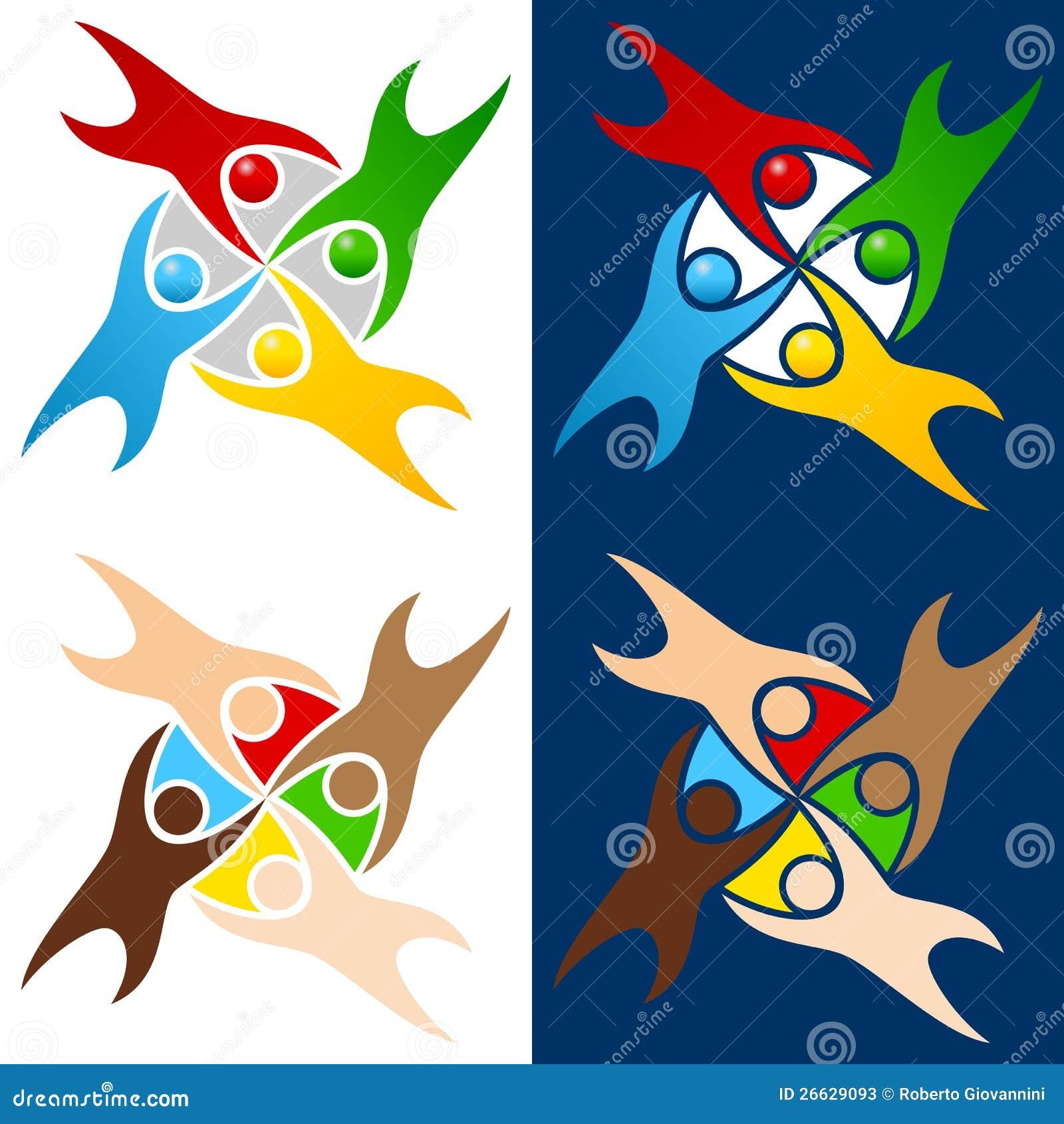 Цветастый логос людей мира