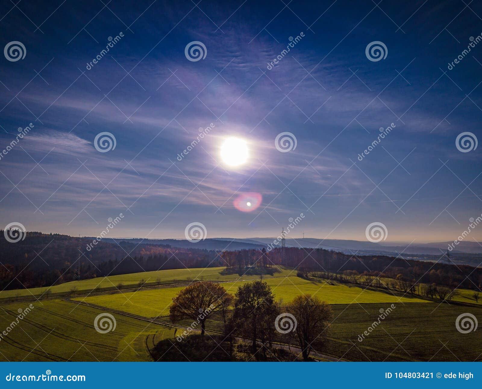 Цвета захода солнца Германии природы трутня