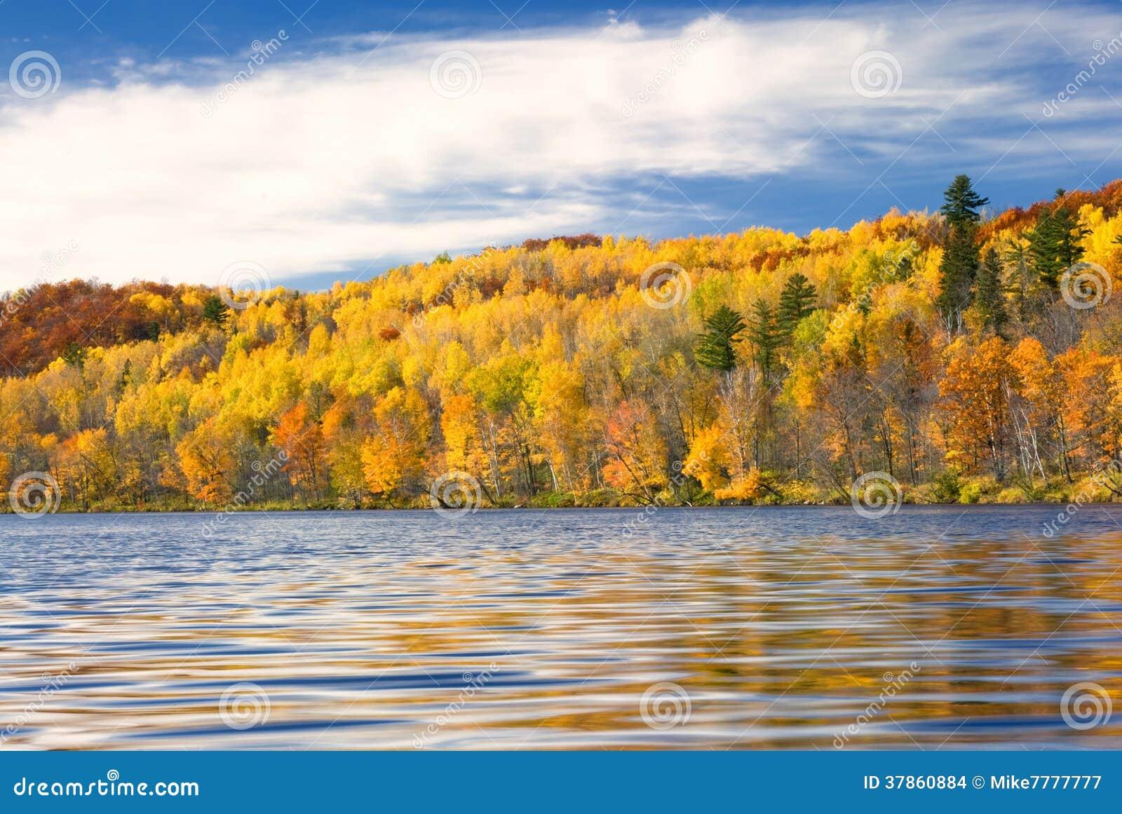 Цвета осени отразили в озере, Минесоте, США