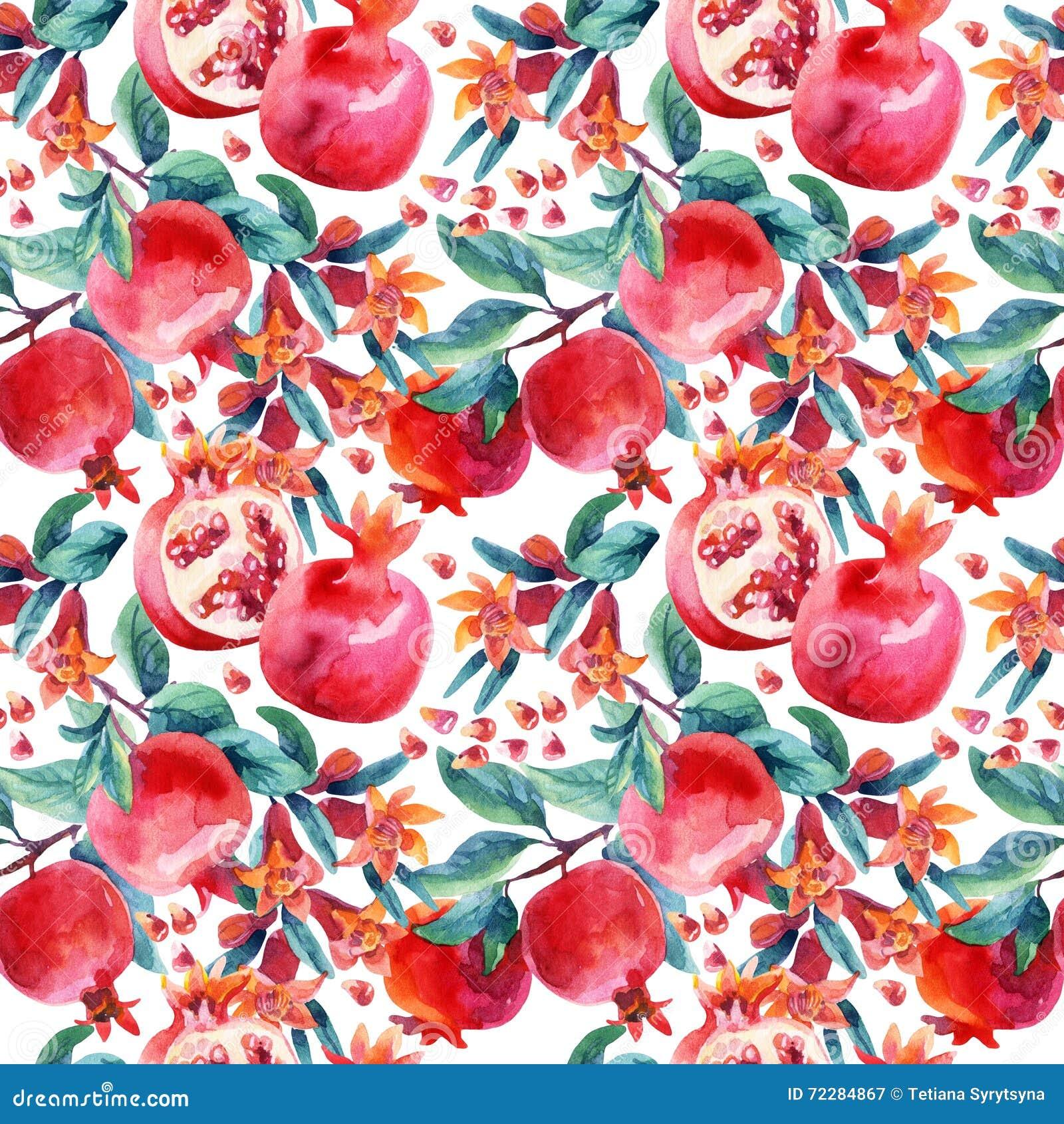 Download Цветене гранатового дерева акварели разветвляют и картина плодоовощ безшовная Иллюстрация штока - иллюстрации насчитывающей кровопролитное, сад: 72284867