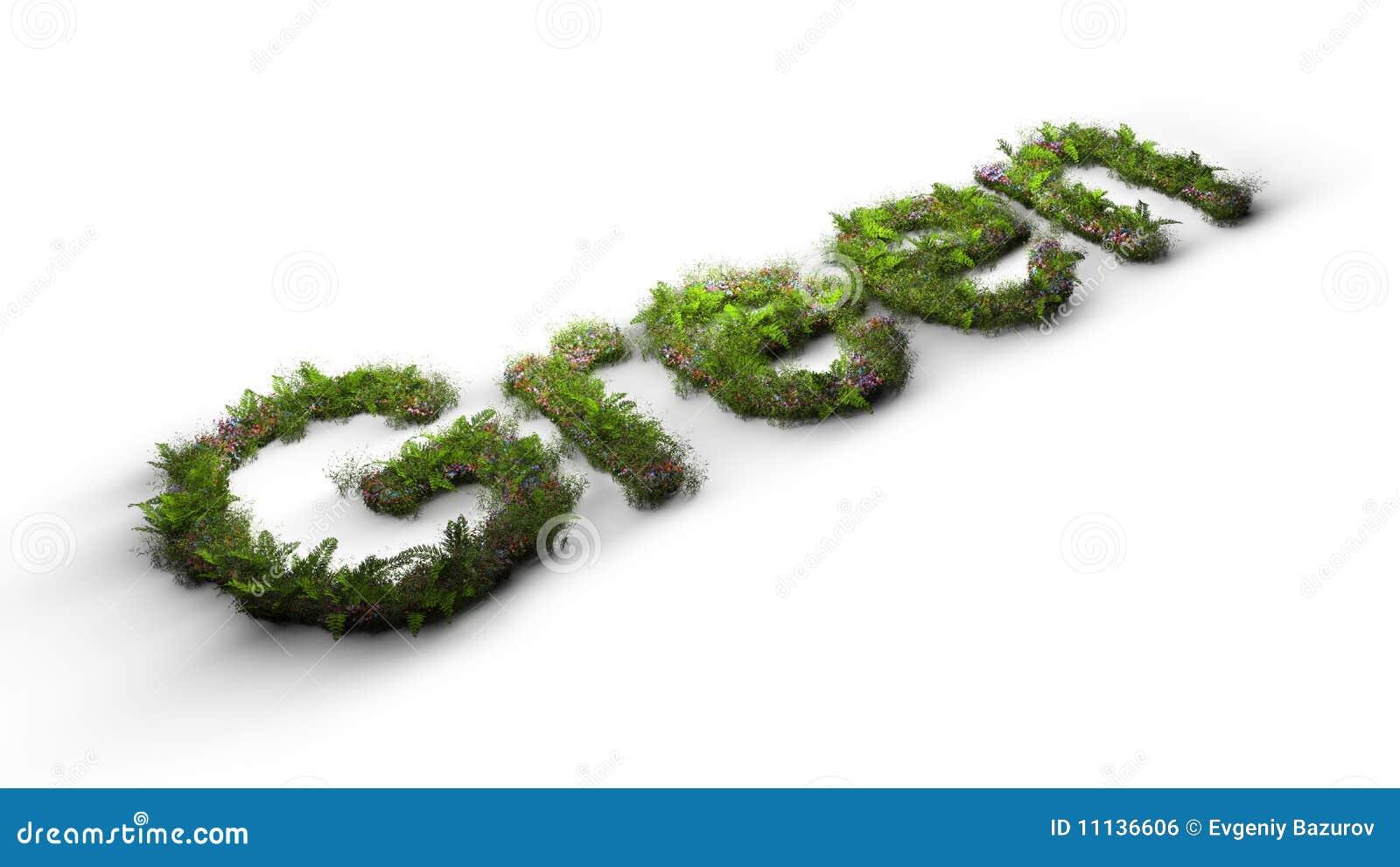 цветет слово зеленого цвета травы напечатанное на машинке