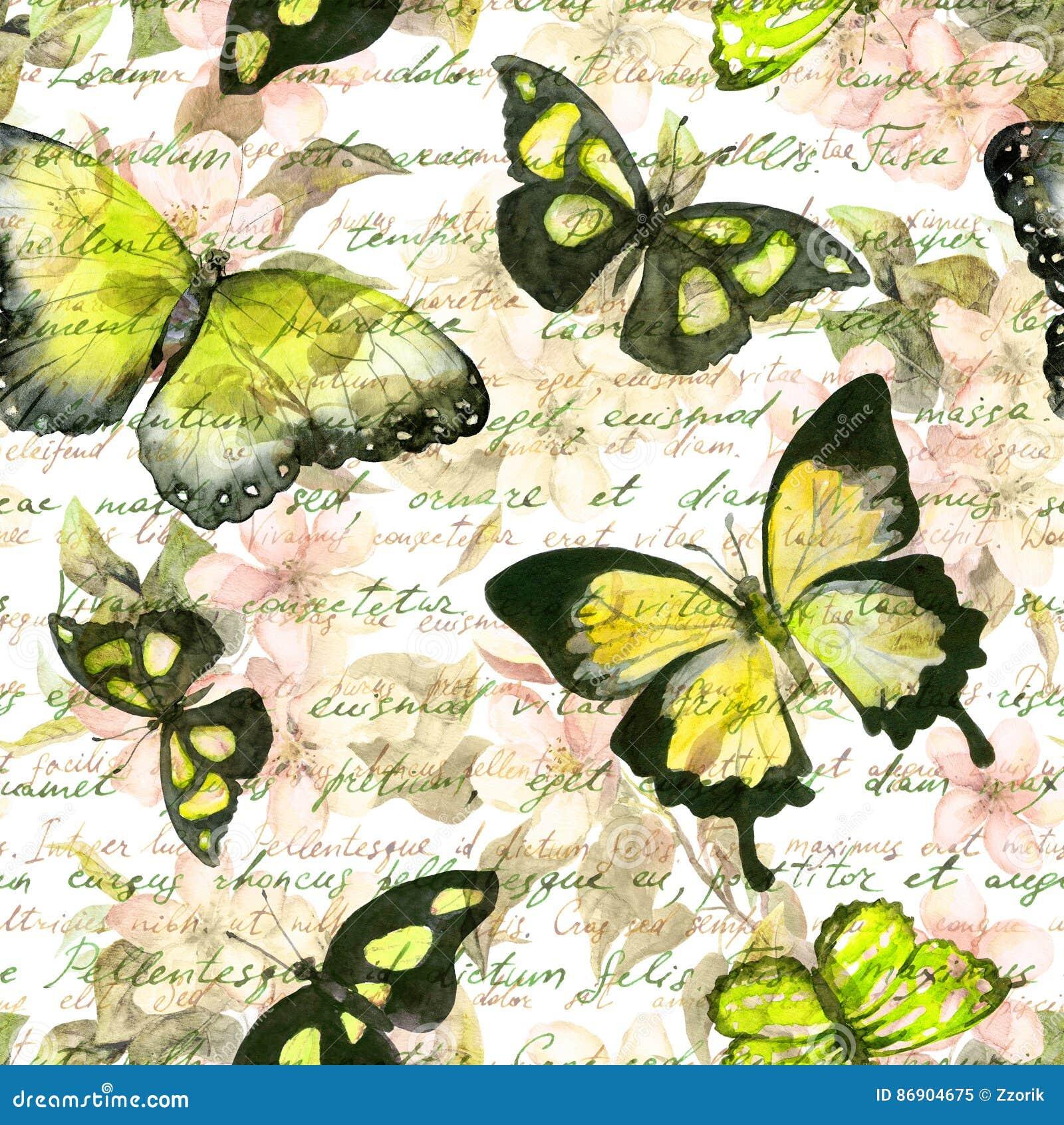 Цветки, бабочки, примечание письменного текста руки акварель сделайте по образцу безшовный сбор винограда