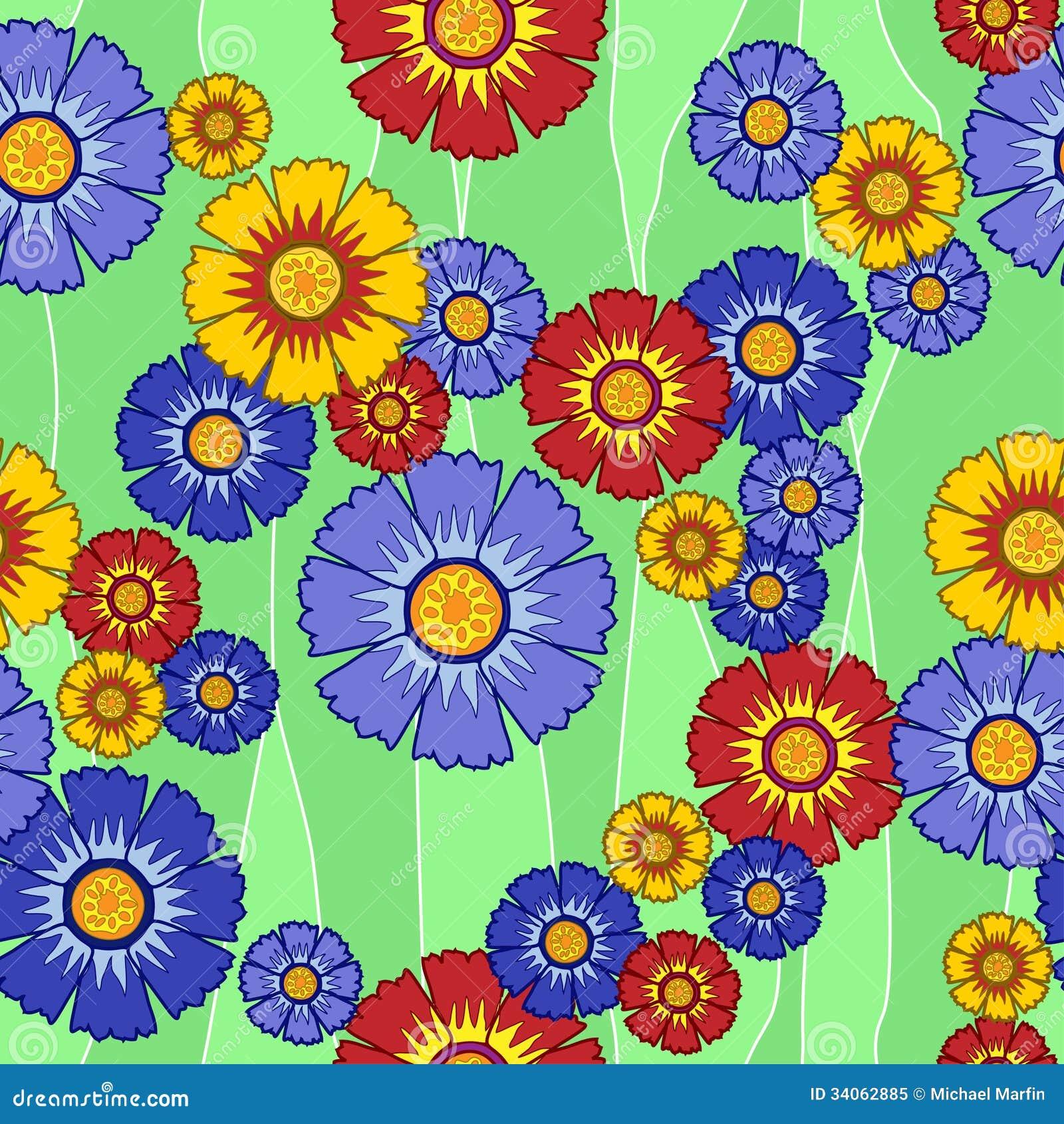 Цветки безшовной картины пестротканые