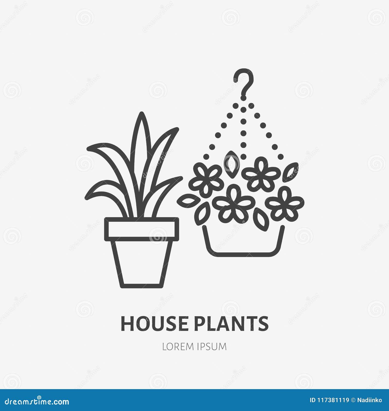Цветки дома в линии значке цветочных горшков плоской Заводы растя в знаке цветочного горшка Тонкий линейный логотип для садовнича