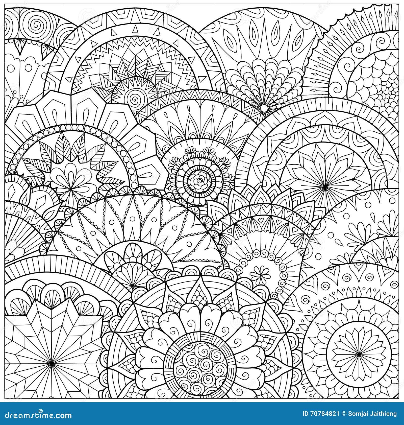 Цветки и линия искусство мандал для книжка раскраски для