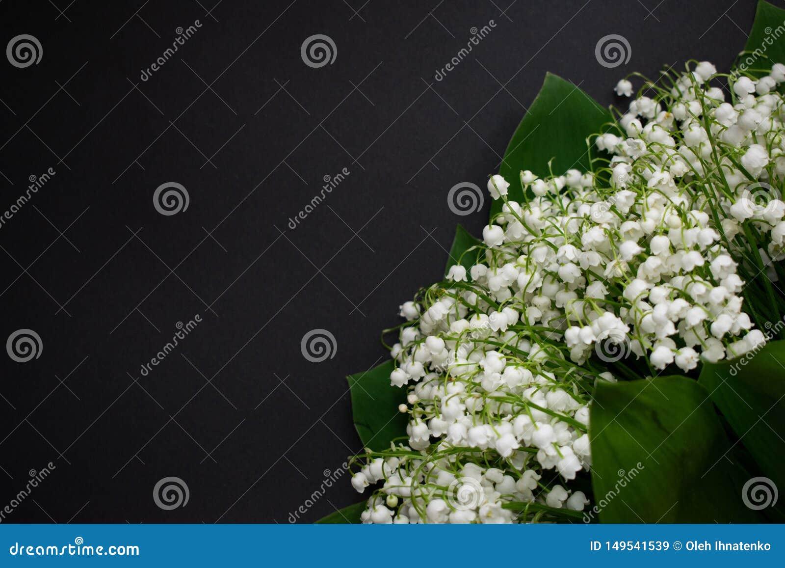 Цветки ландыша на черной предпосылке 7