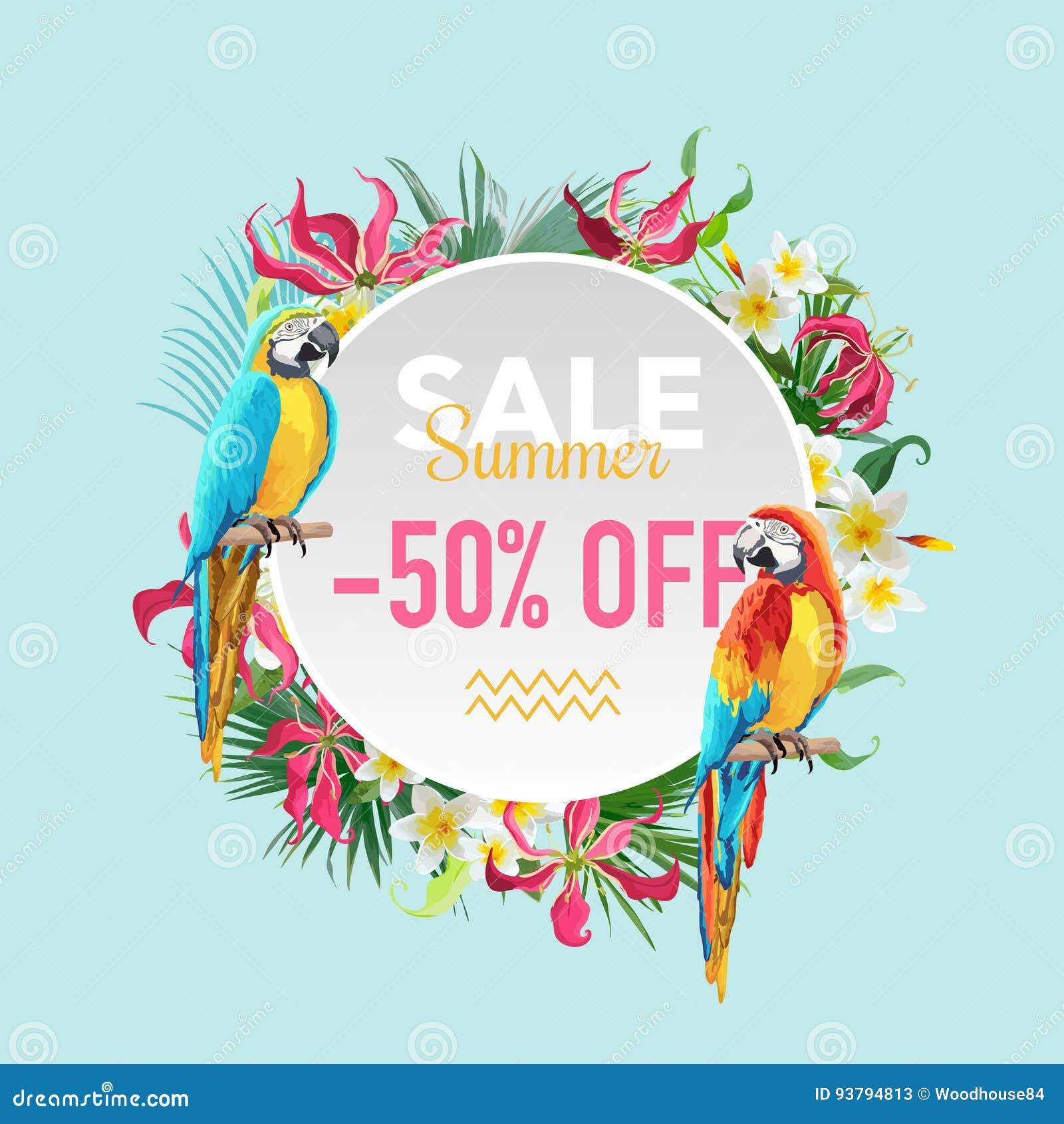 Цветки продажи лета тропические и экзотическое знамя птиц попугаев, для плаката скидки, продажа моды, предложение рынка